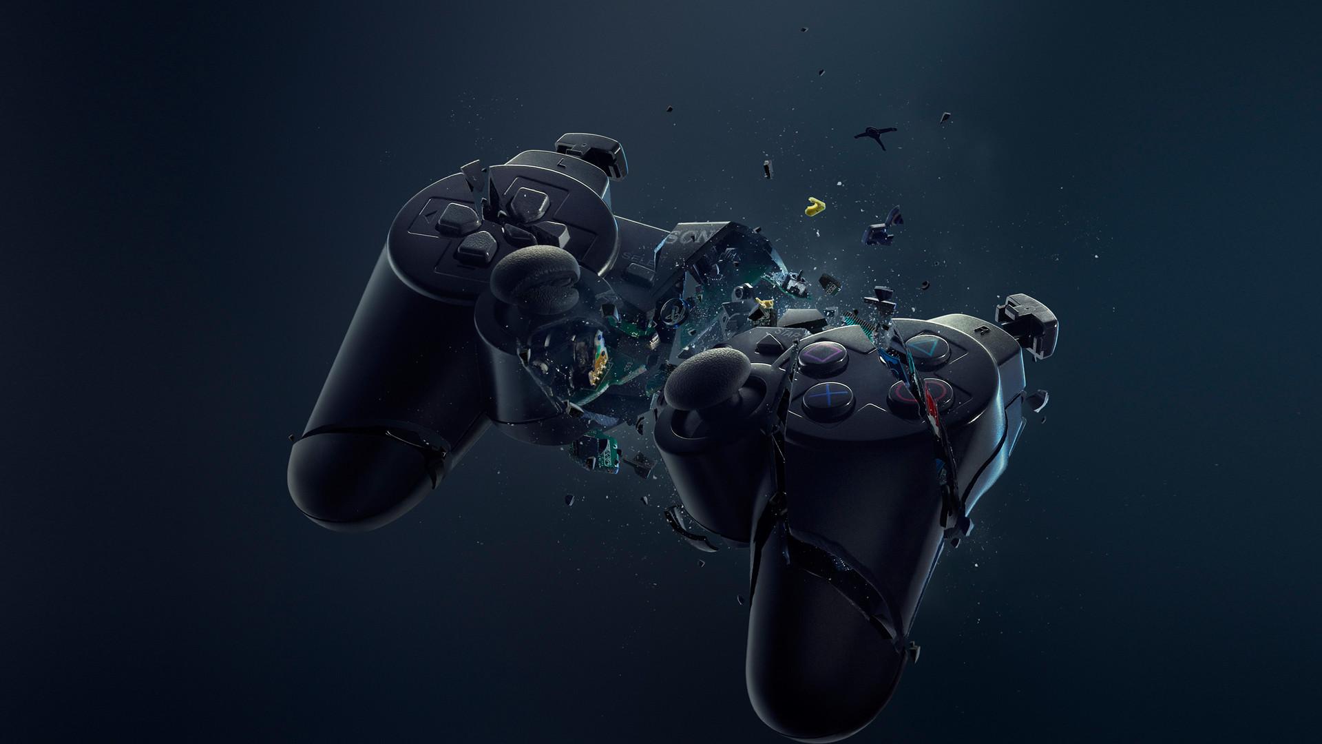 3D Broke Game Controller Desktop Wallpaper