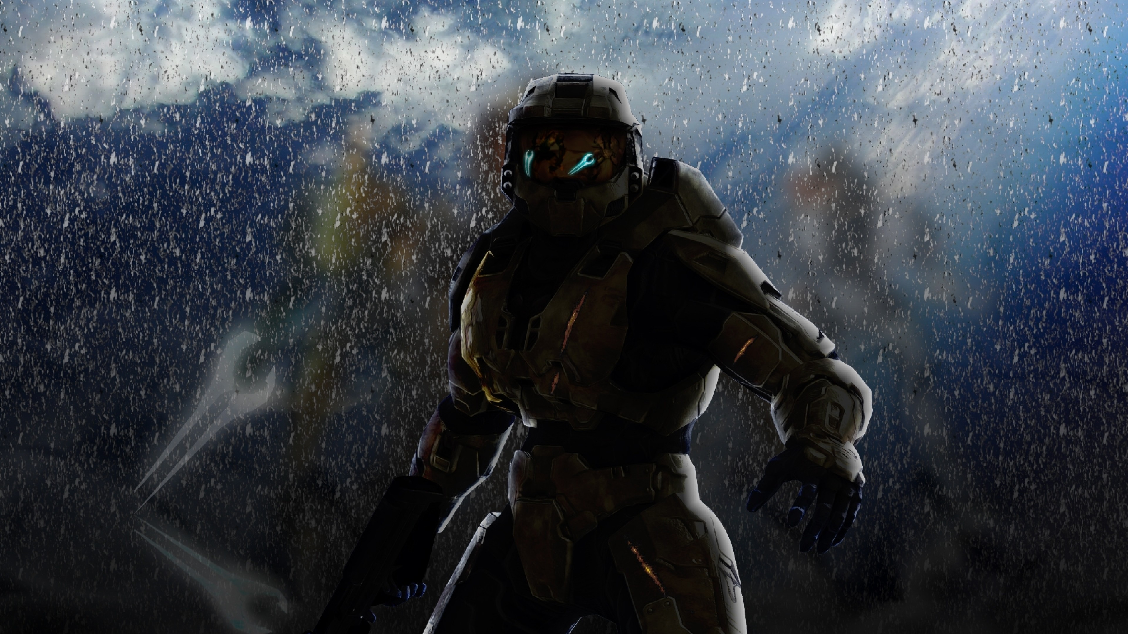 Preview wallpaper halo, soldier, armor, look 3840×2160