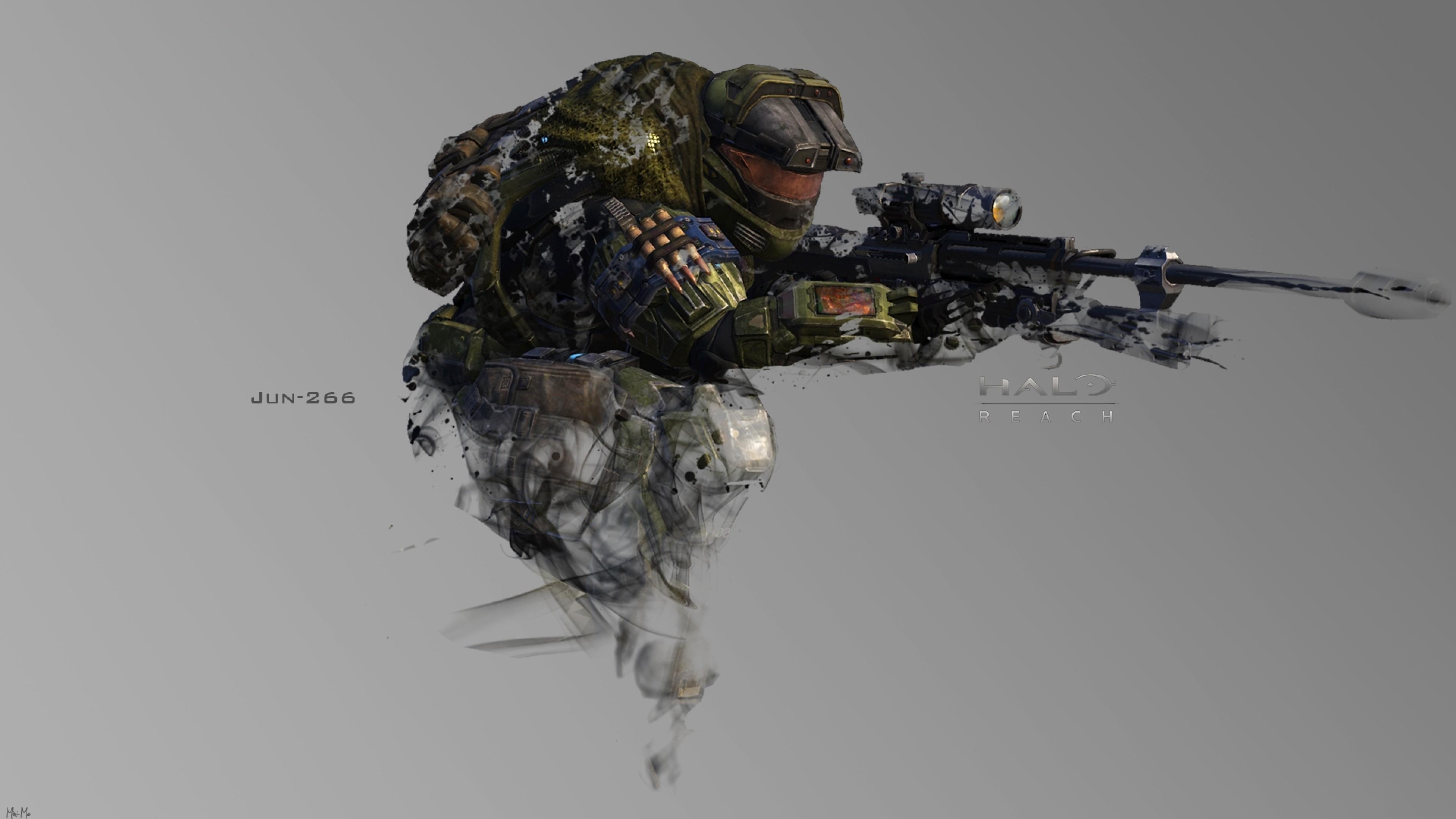 Preview wallpaper halo, soldier, gun, jun-266 3840×2160