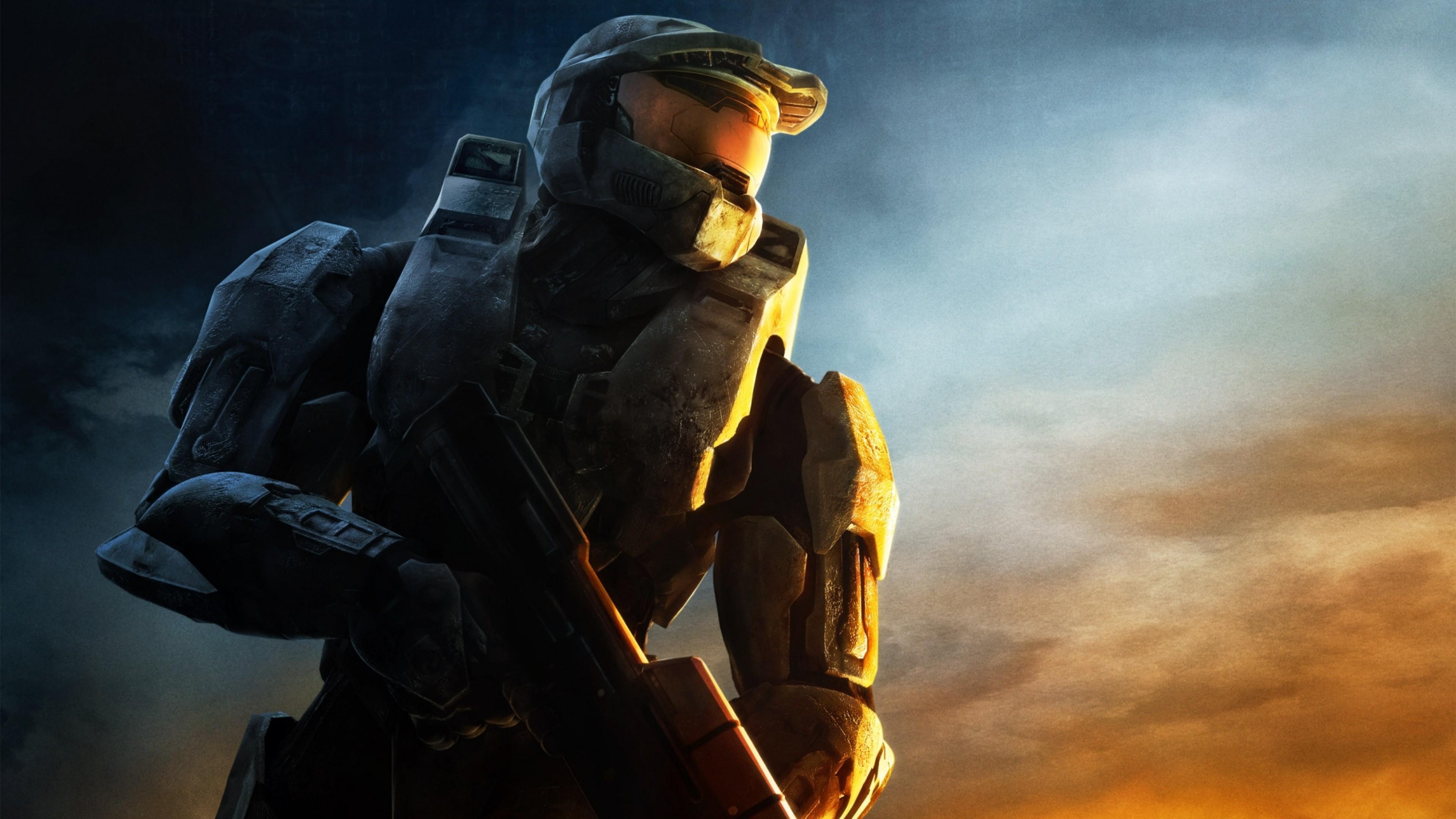 … Background 4K Ultra HD. Wallpaper halo, soldier, sunset, gun