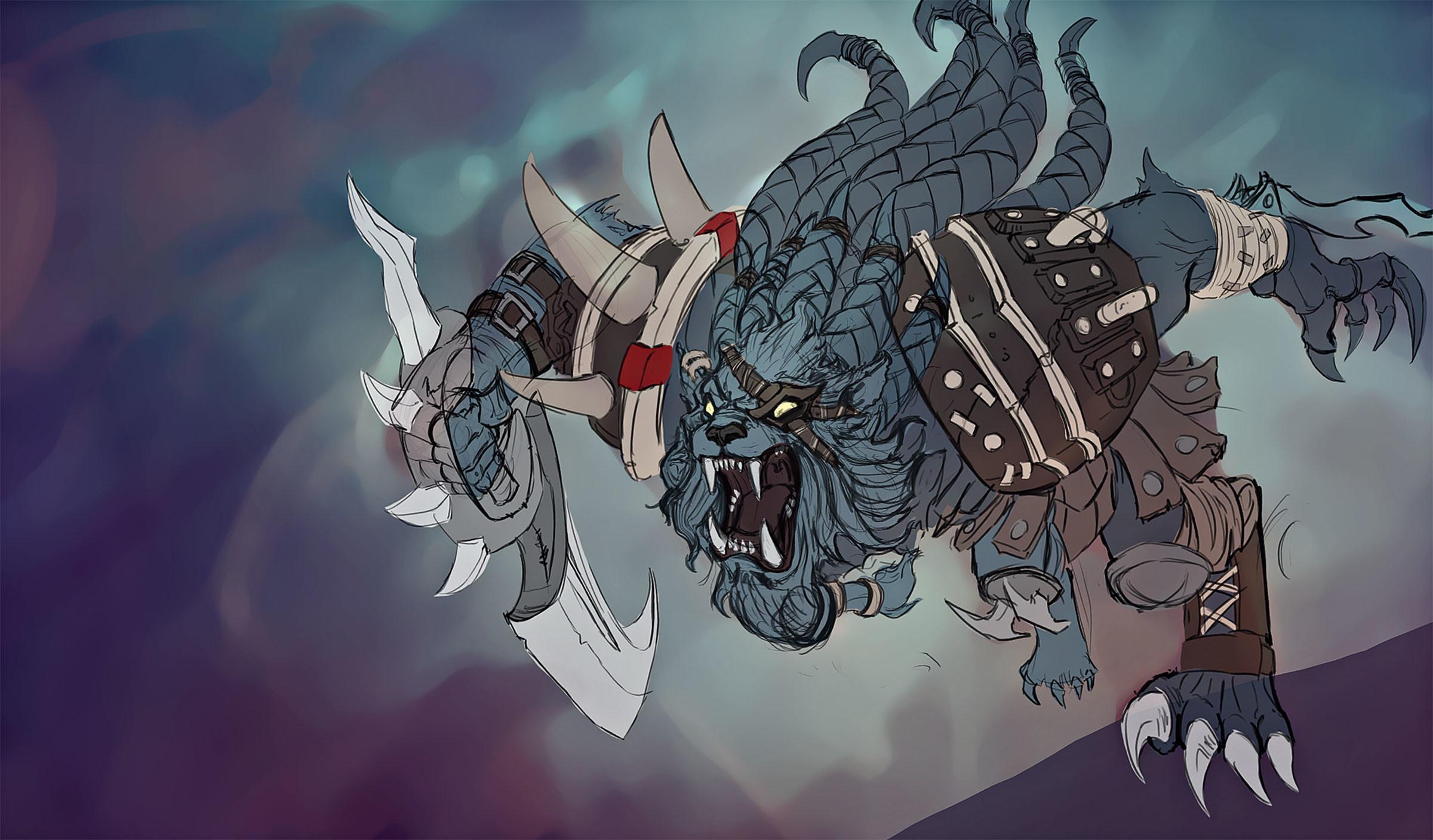 Rengar Splash Art Process (2) League of Legends Artwork Wallpaper lol