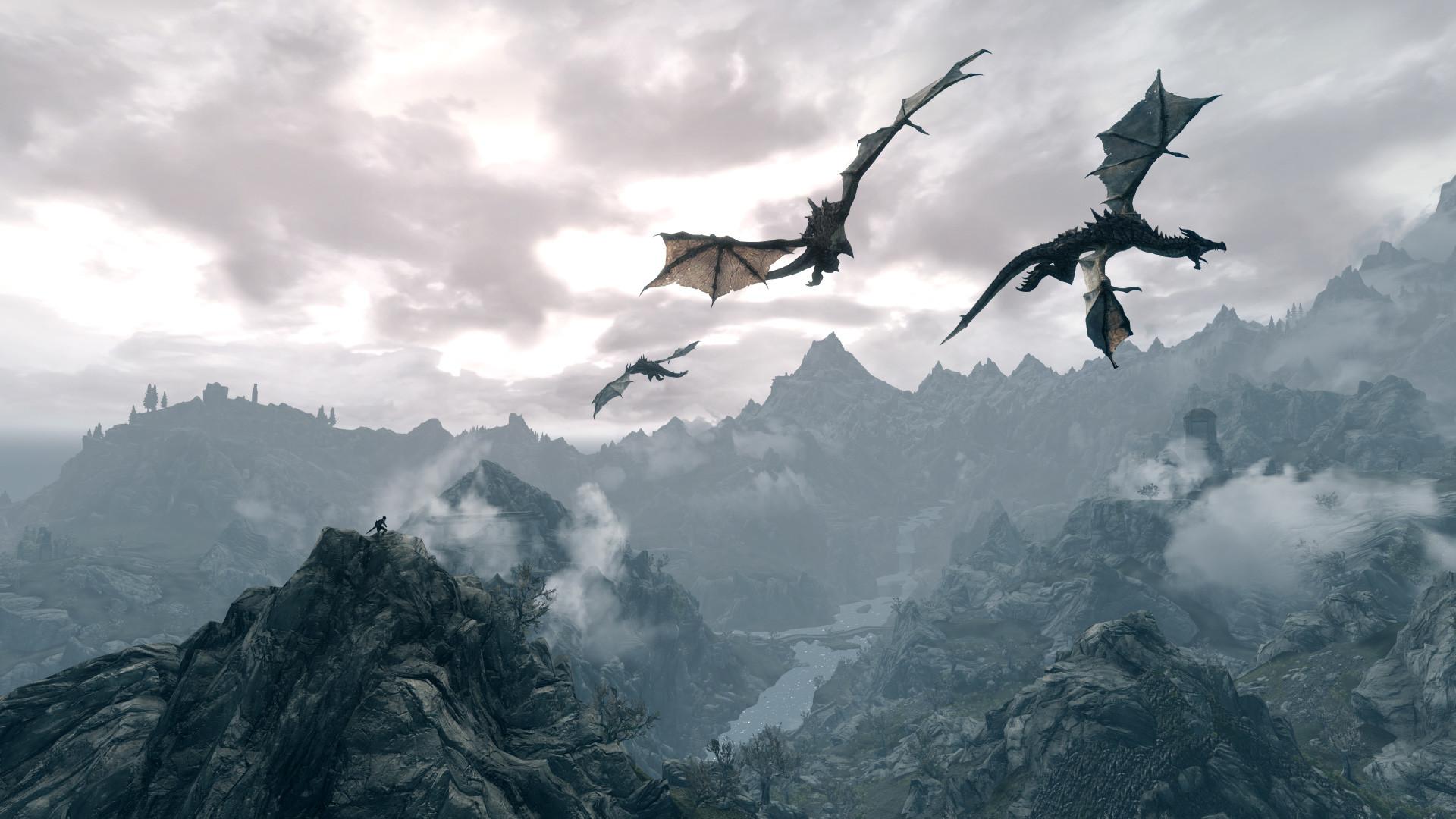 Skyrim Dragons Above HD Wallpaper
