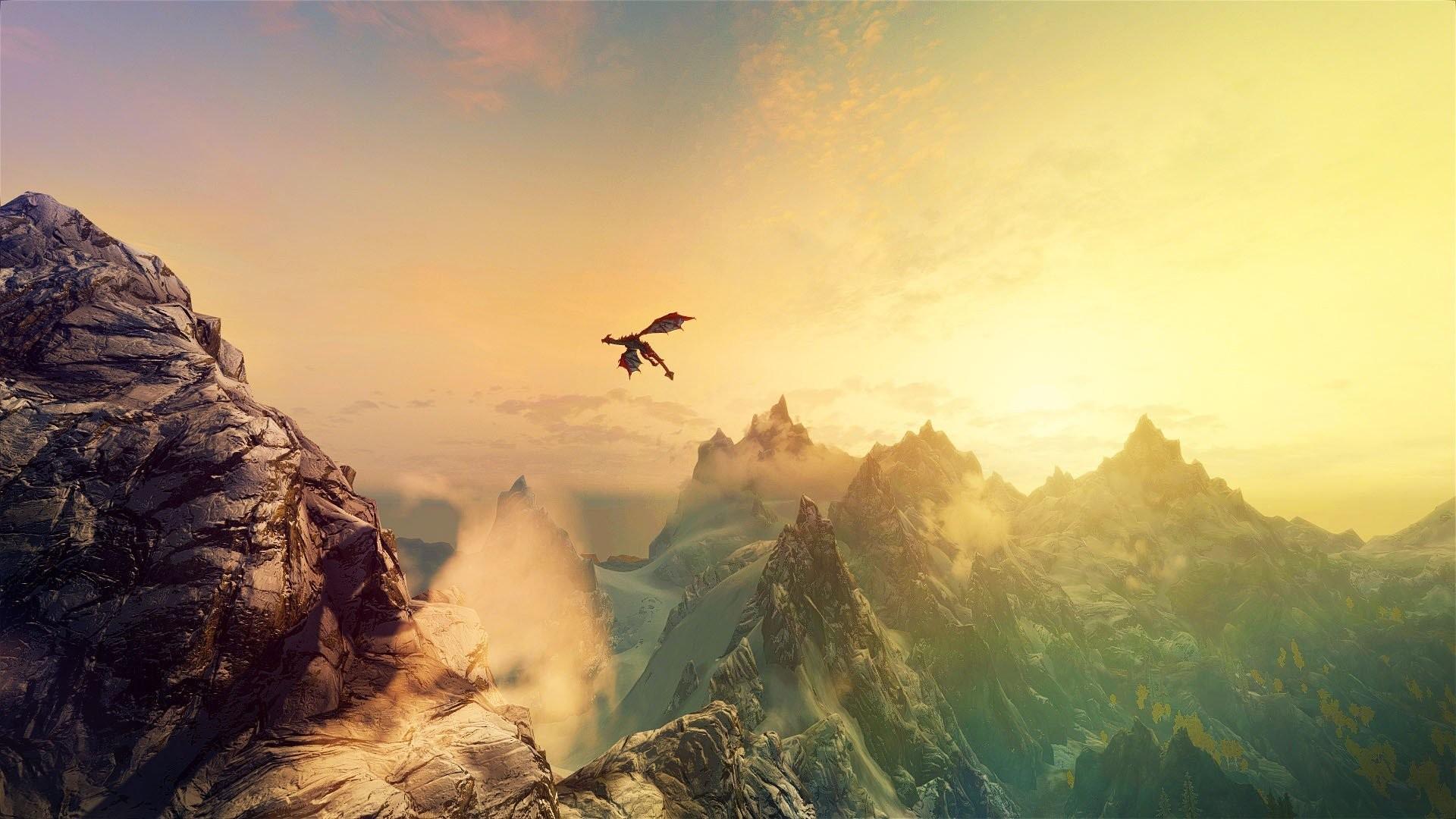 Mountains dragons fantasy art The Elder Scrolls V: Skyrim wallpaper      264540  