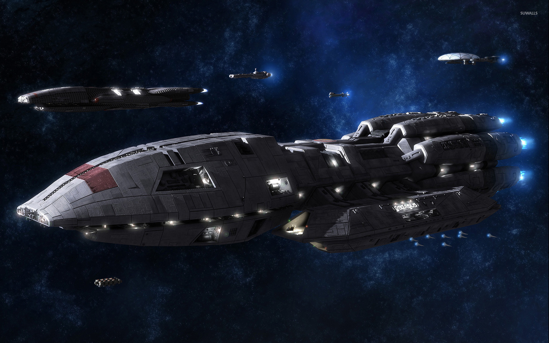 Battleships in Battlestar Galactica wallpaper