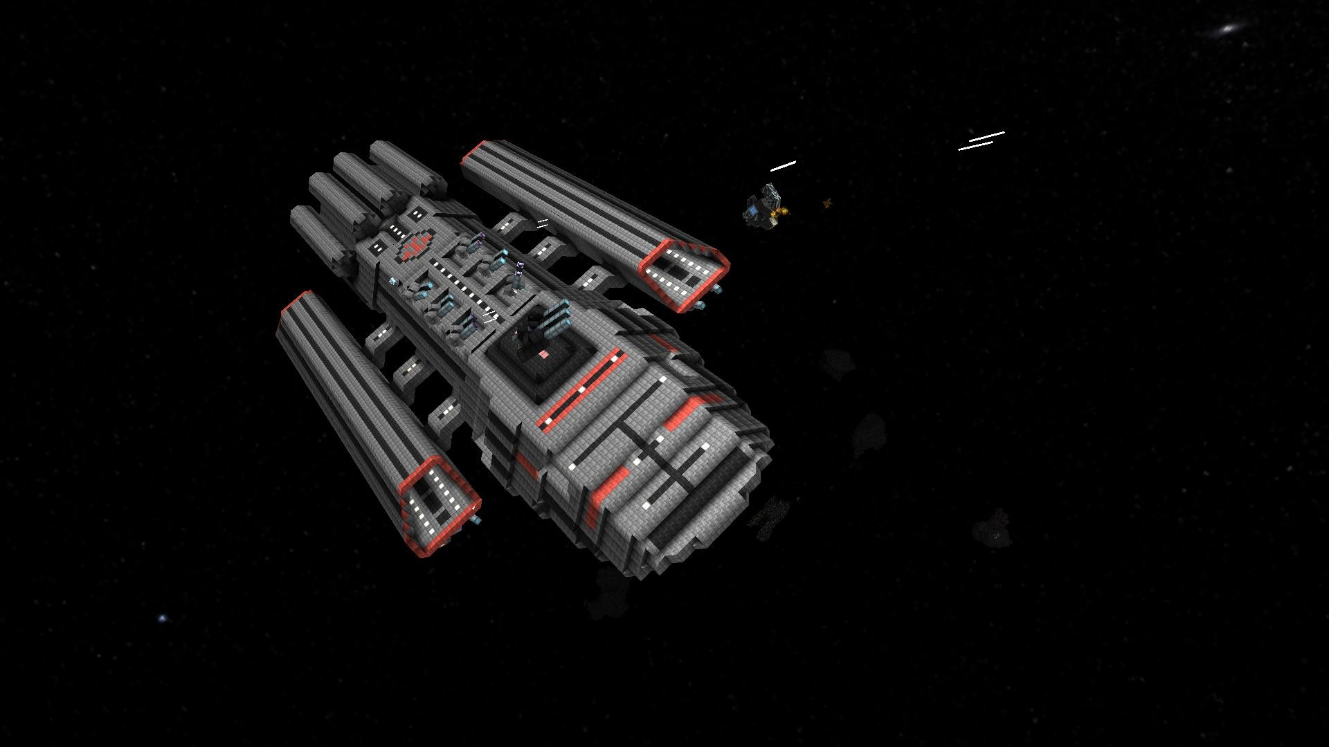 First iteration of my (slightly modified) Mercury class BattleStar with a  pair of Mk II Colonial Vipers.