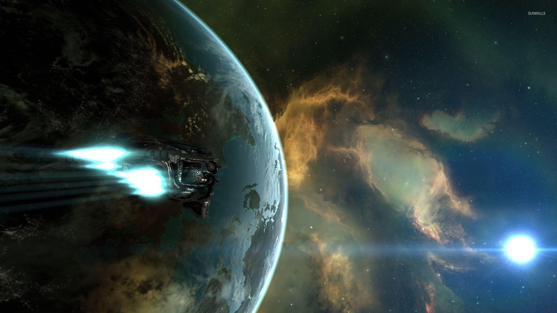 Battlestar Galactica spaceship. 515. Spaceship flying to the nebula wallpaper  jpg