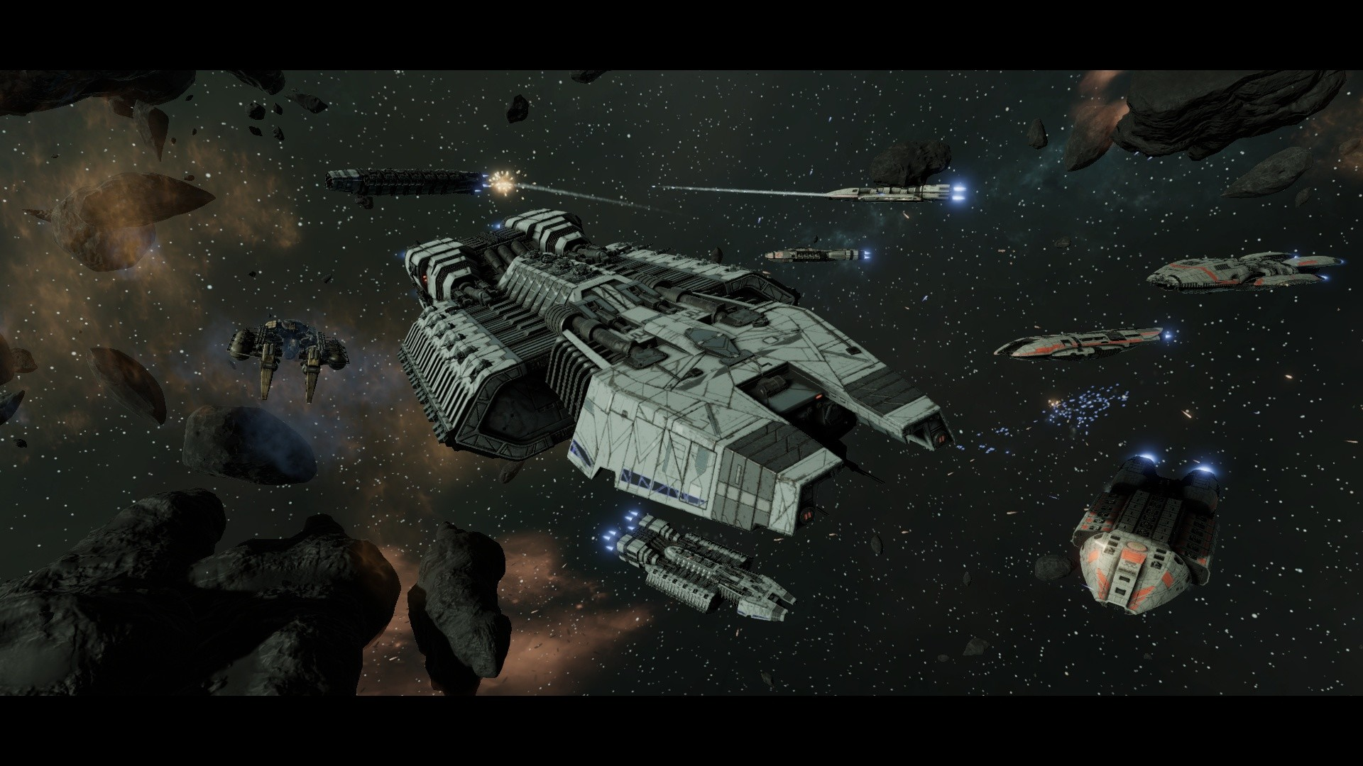 """In Battlestar Galactica: Deadlock, battlestar-class multi-role carrier  ships are the newest ships in the Colonial fleets. Black Lab  Games/Slitherine. """""""