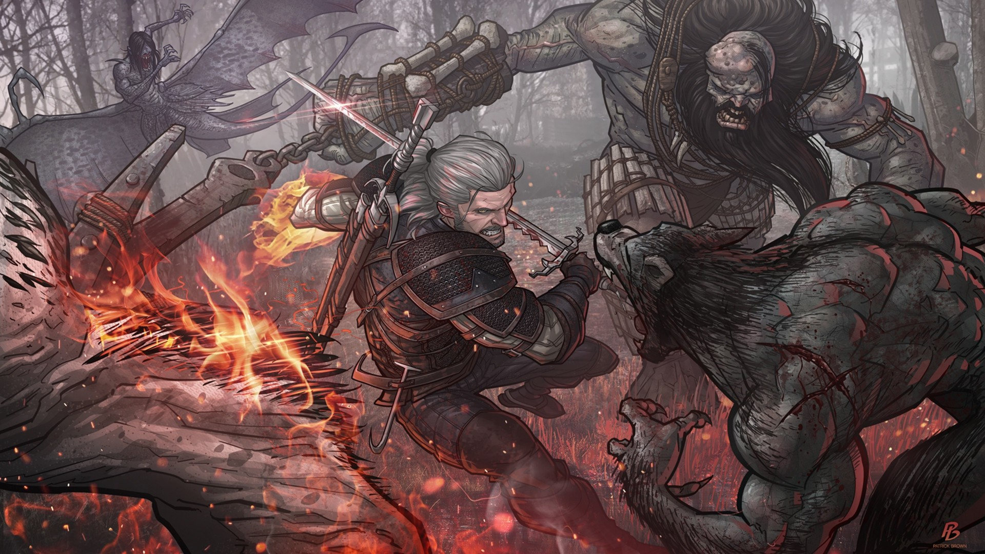 Preview wallpaper the witcher 3, geralt, patrick brown, the witcher 3 wild  hunt