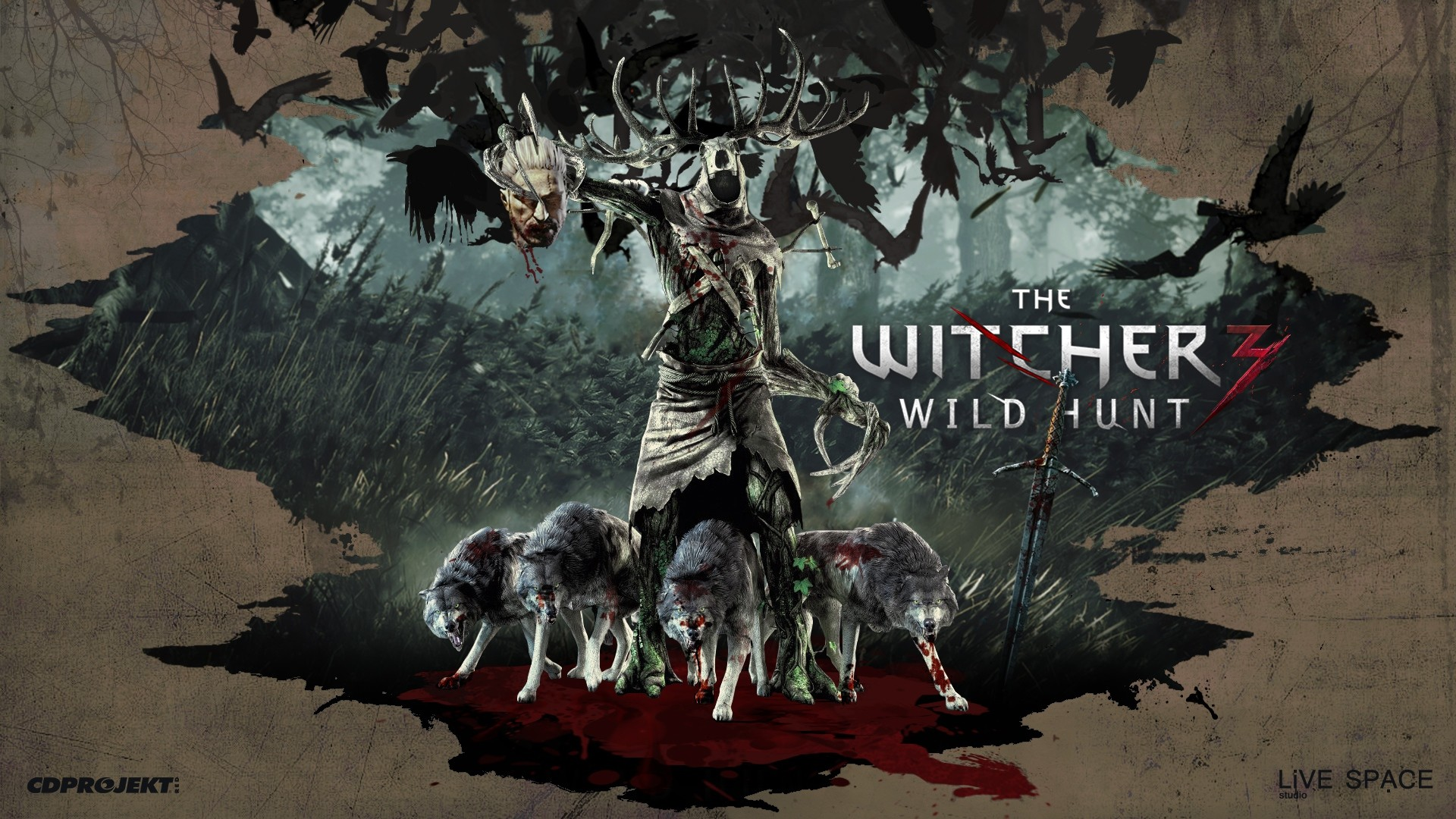 Wallpaper the witcher 3 wild hunt, art, wolves