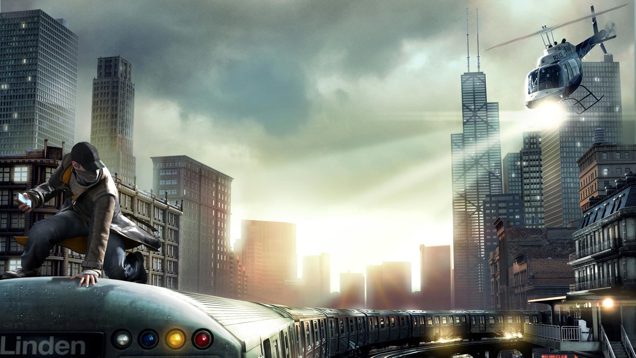 Preview wallpaper watch dogs, aiden pearce, chicago train 2048×1152