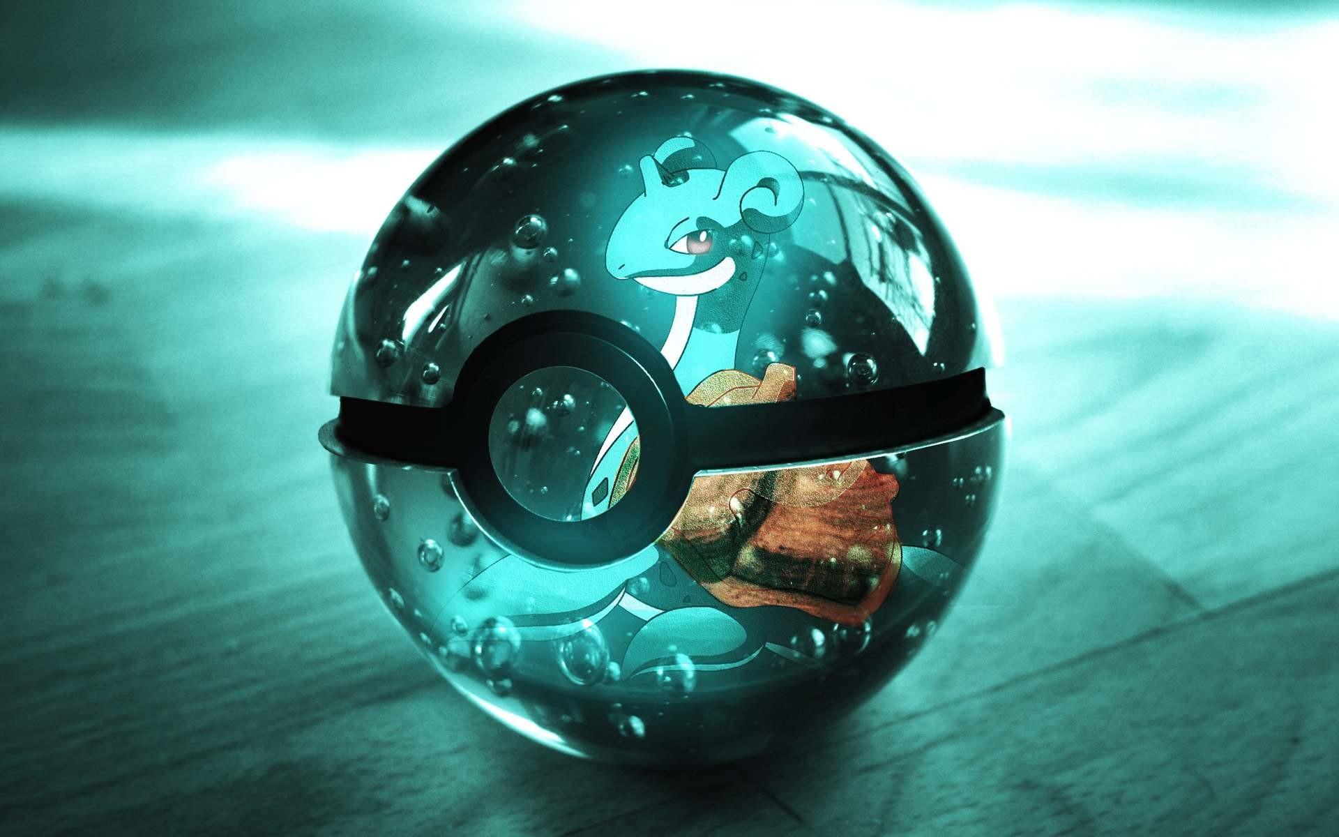 Shiny Pokeball Wallpaper from Pokemon. Shiny Pokeball with Lapras on it
