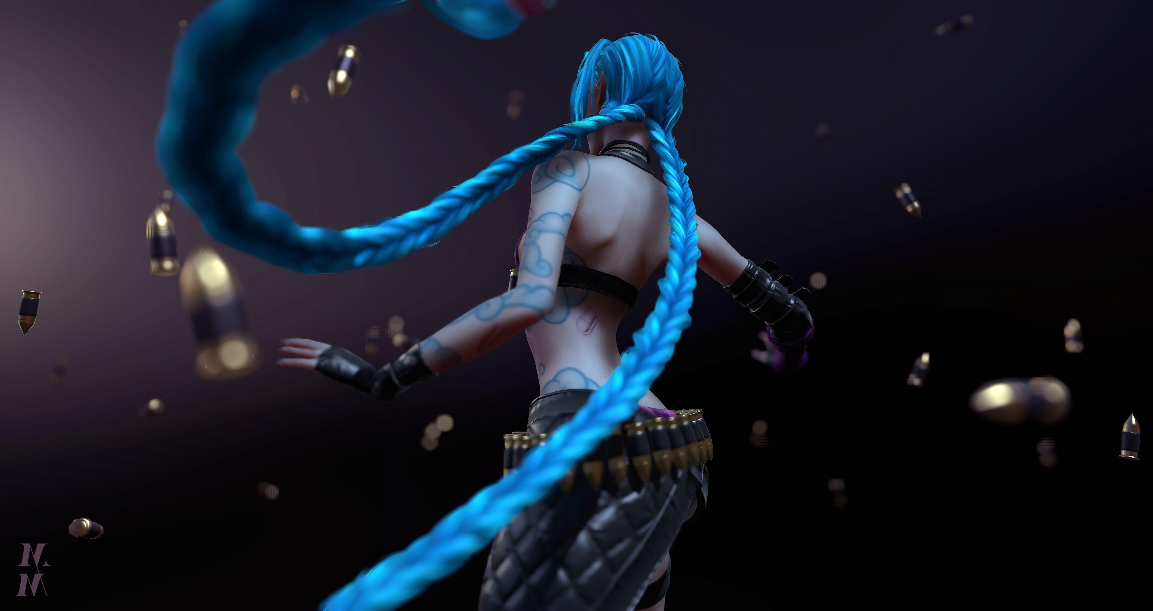 blue Hair, CGI, Women, League Of Legends, Jinx (League Of Legends)  Wallpapers HD / Desktop and Mobile Backgrounds