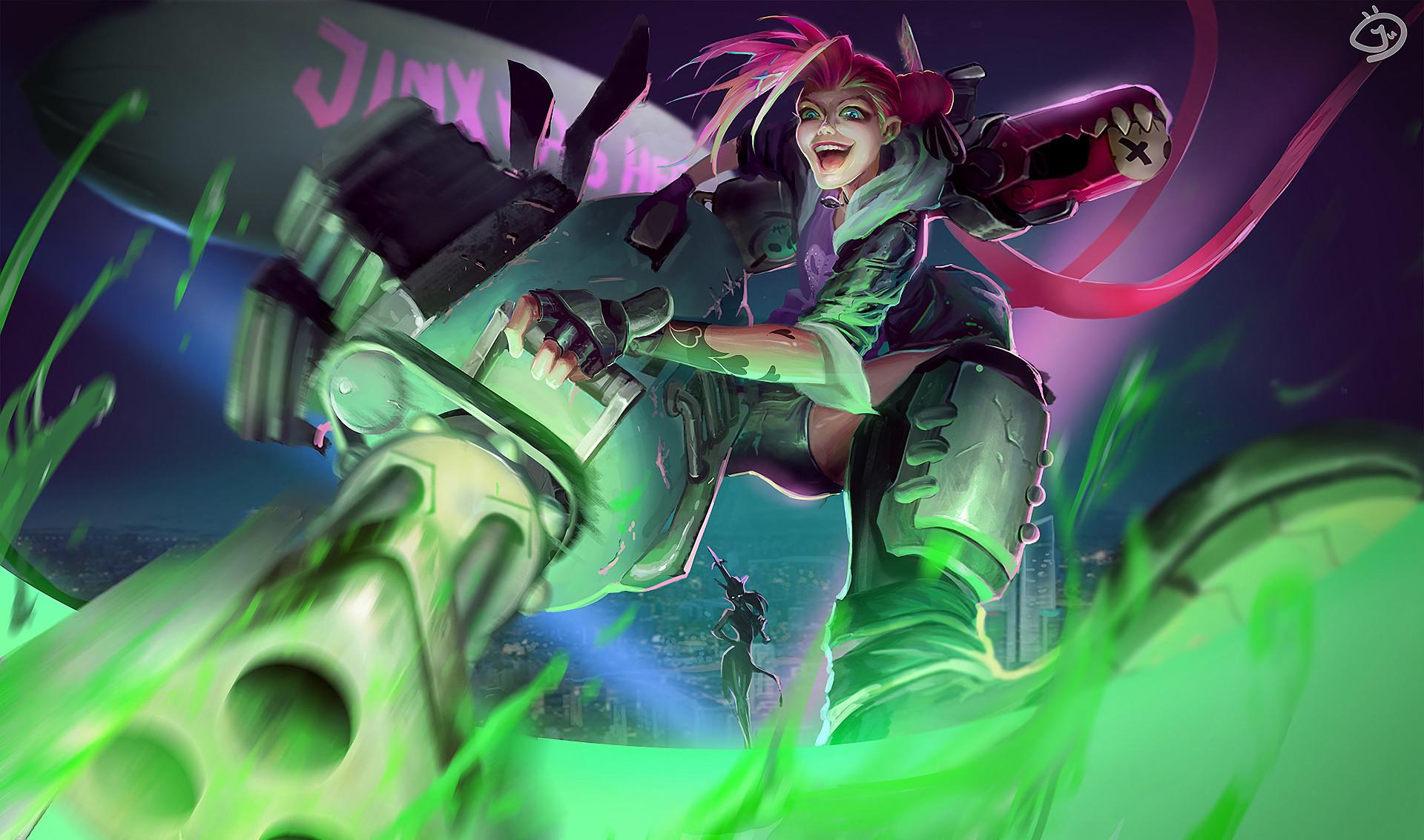 Slayer Jinx by Maho Chio HD Wallpaper Fan Art Artwork League of Legends lol