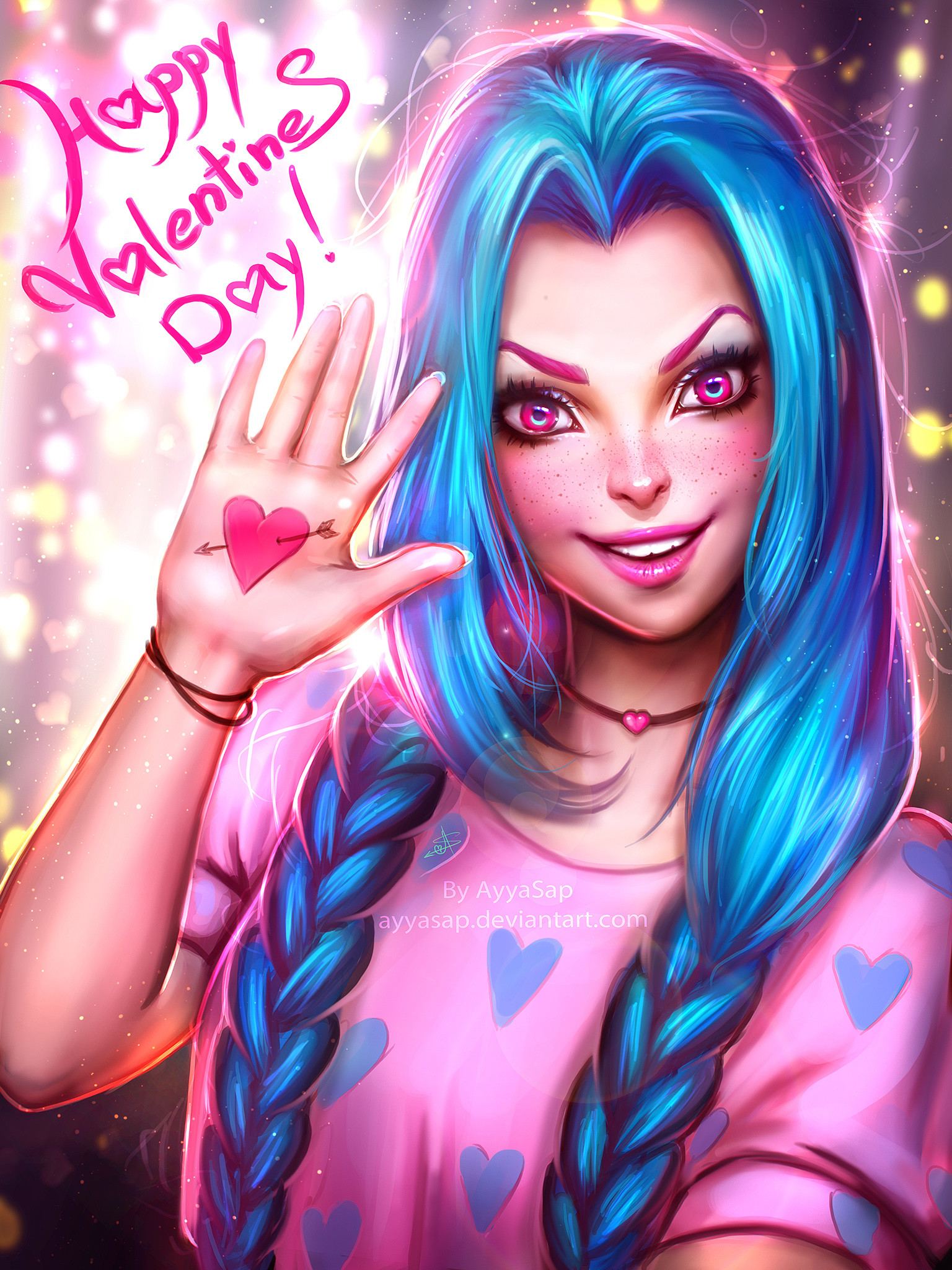 Happy Valentines Day Jinx by AyyaSAP HD Wallpaper Fan Art Artwork League of  Legends lol