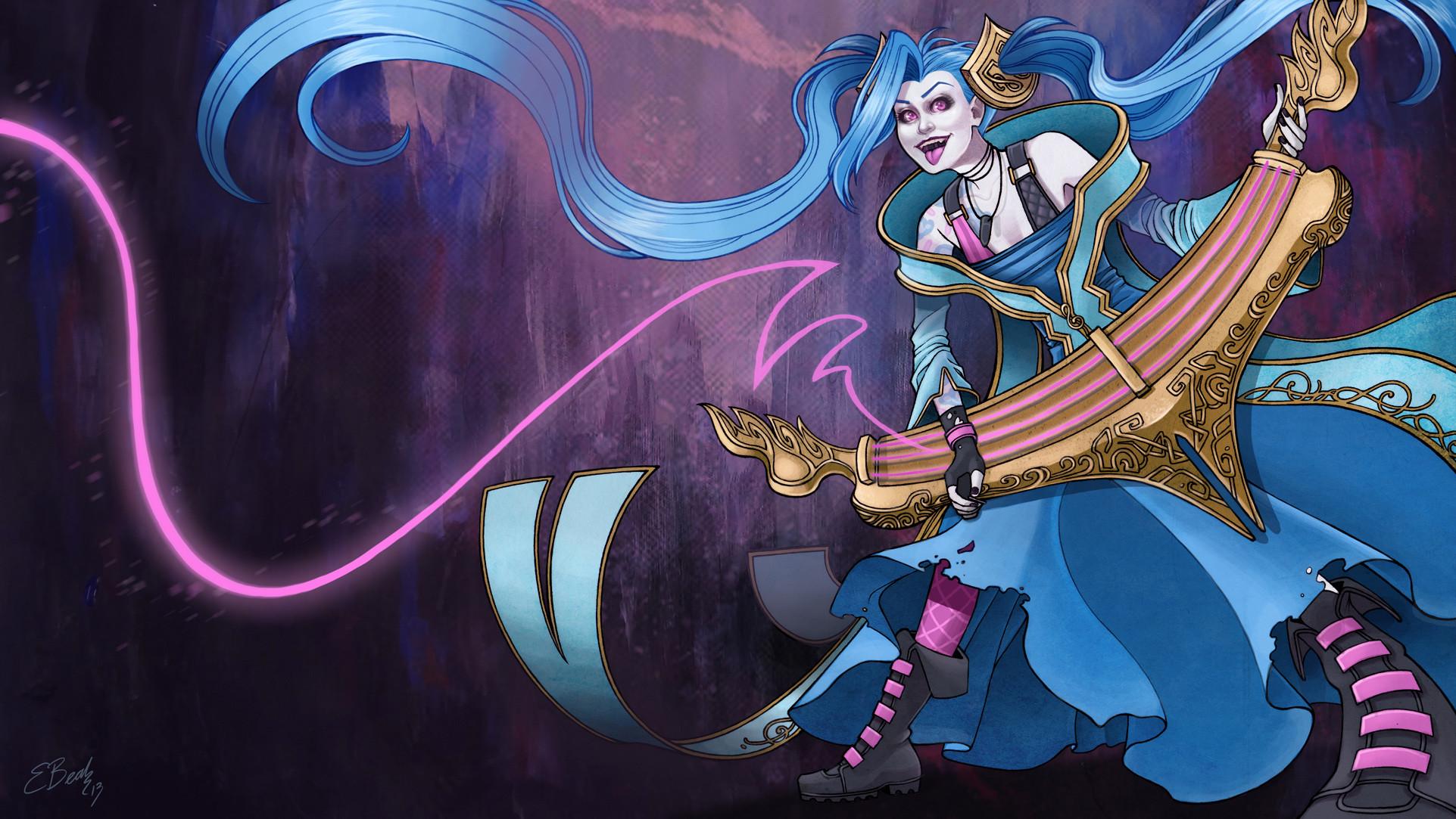 Jinx in Sona Costume by ElizabethBeals HD Wallpaper Fan Art Artwork League  of Legends lol