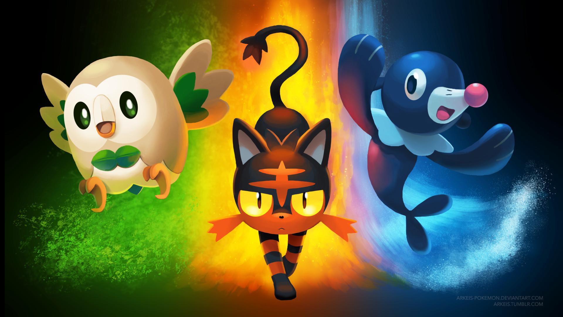 … [Wallpaper] Pokemon Sun/Moon Starters by arkeis-pokemon