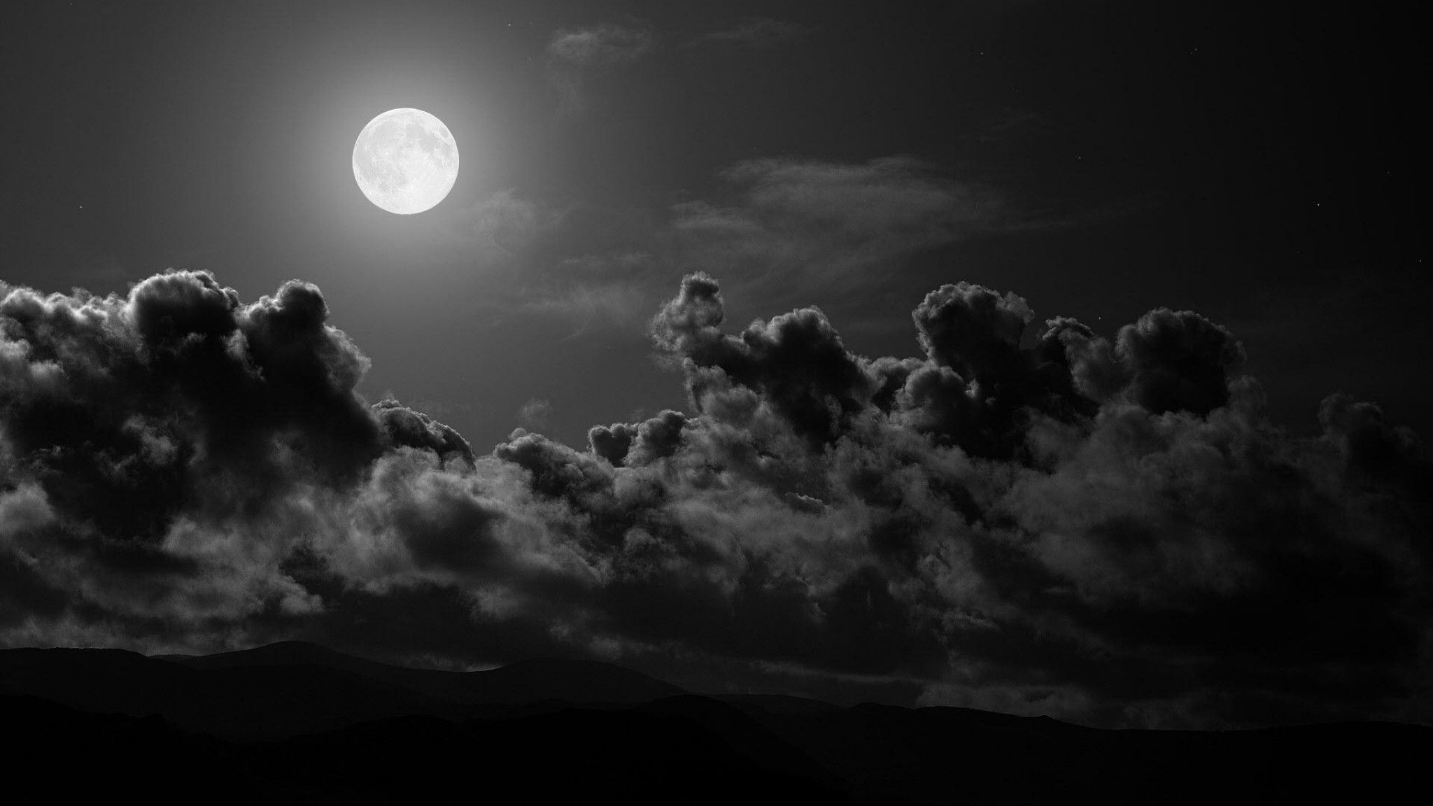 Preview wallpaper moon, clouds, sky, black-and-white 2048×1152