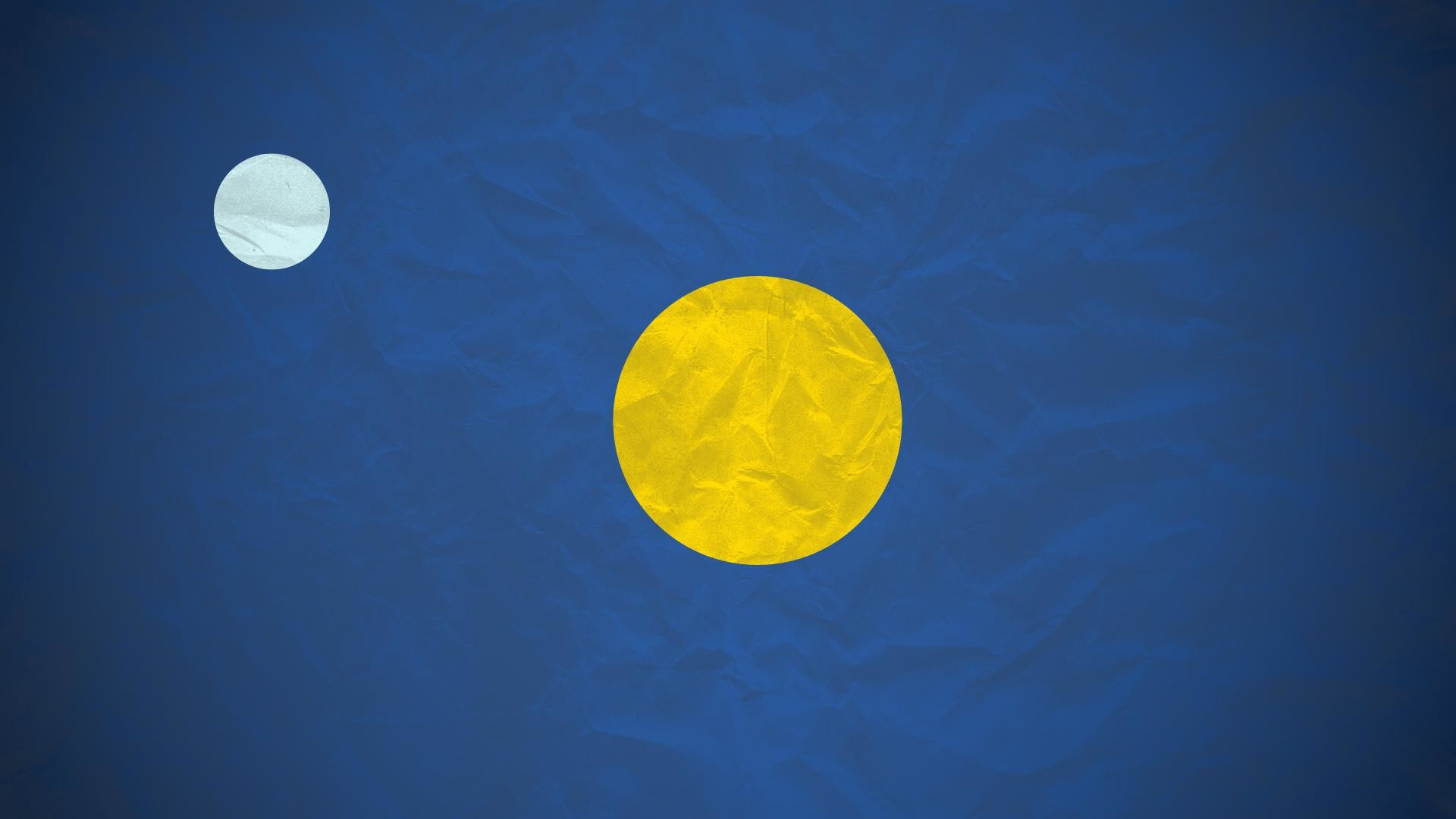 My first attempt at a minimalist wallpaper: The Sun and the Moon  [1920×1080] …