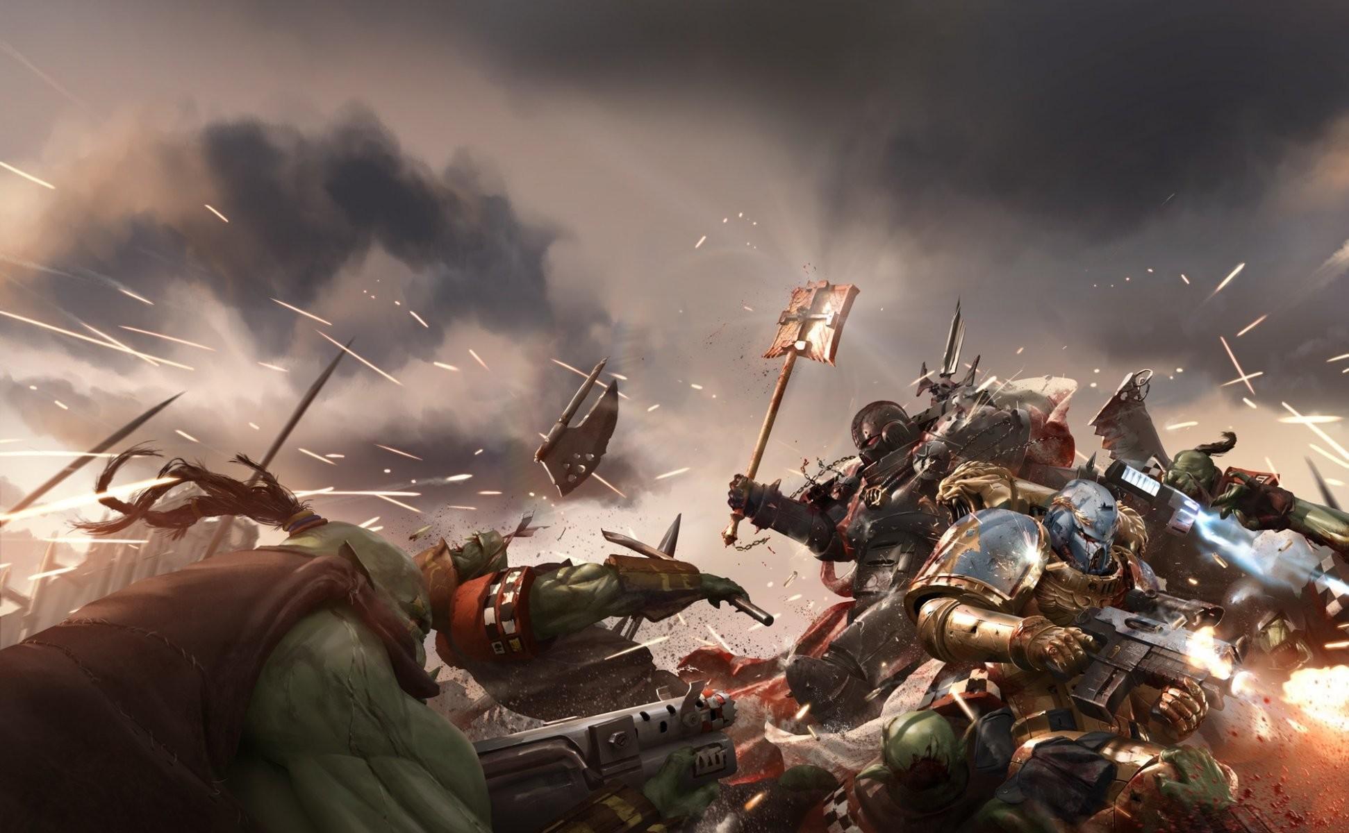 warhammer 40k wh40k warhammer fight battle space marine ork orks art war