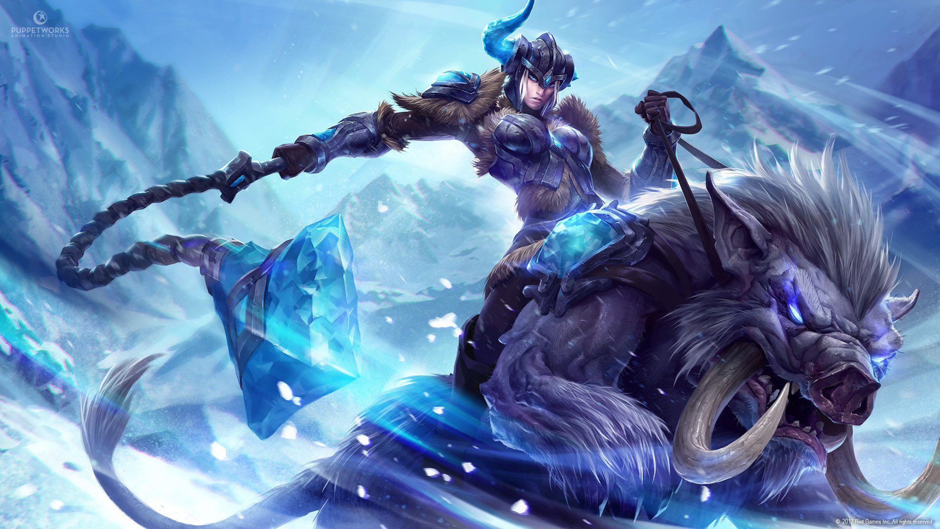 Preview wallpaper league of legends, sejuani, monster, crystals 1920×1080