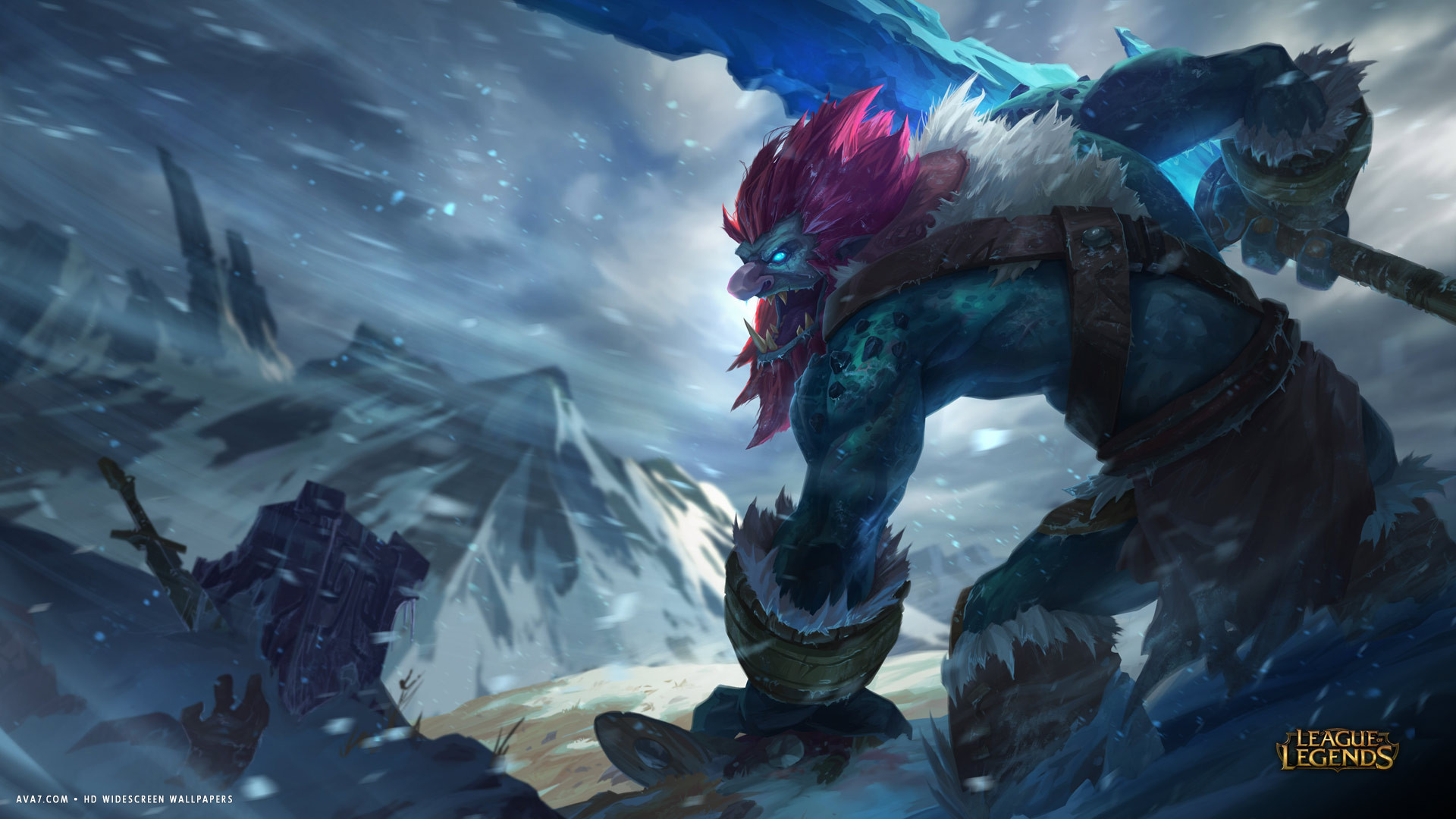 league of legends game lol trundle monster battle hd widescreen wallpaper