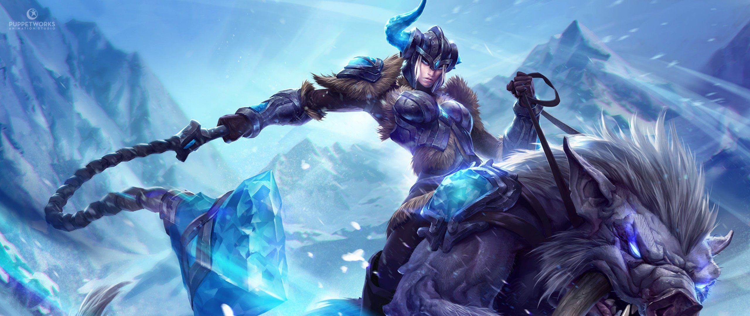 Preview wallpaper league of legends, sejuani, monster, crystals 2560×1080