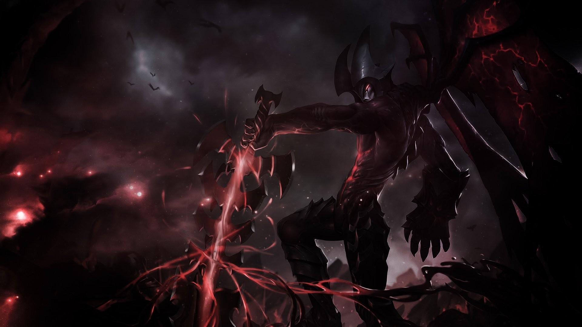 art league of legends aatrox monster sword of the crack wings dark magic