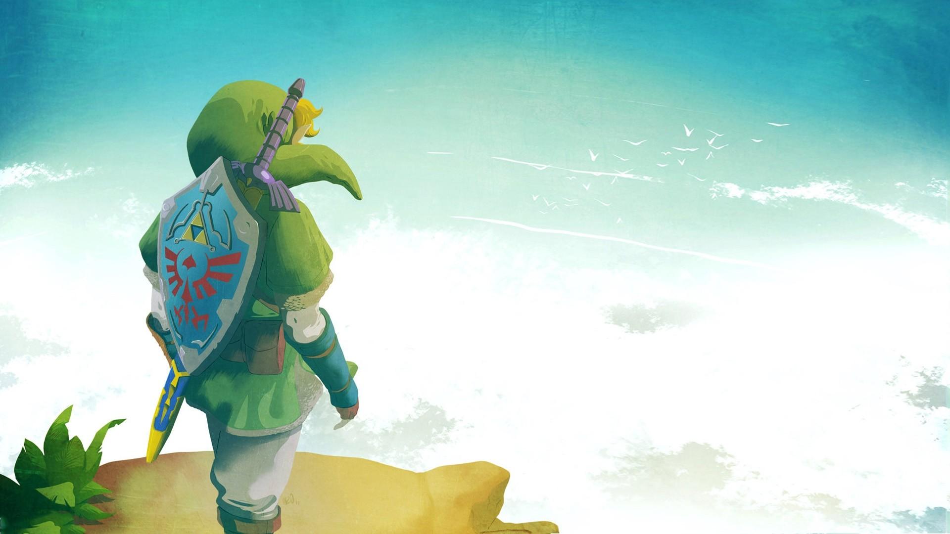 Preview wallpaper the legend of zelda, elf, shield, sky, link 1920×1080