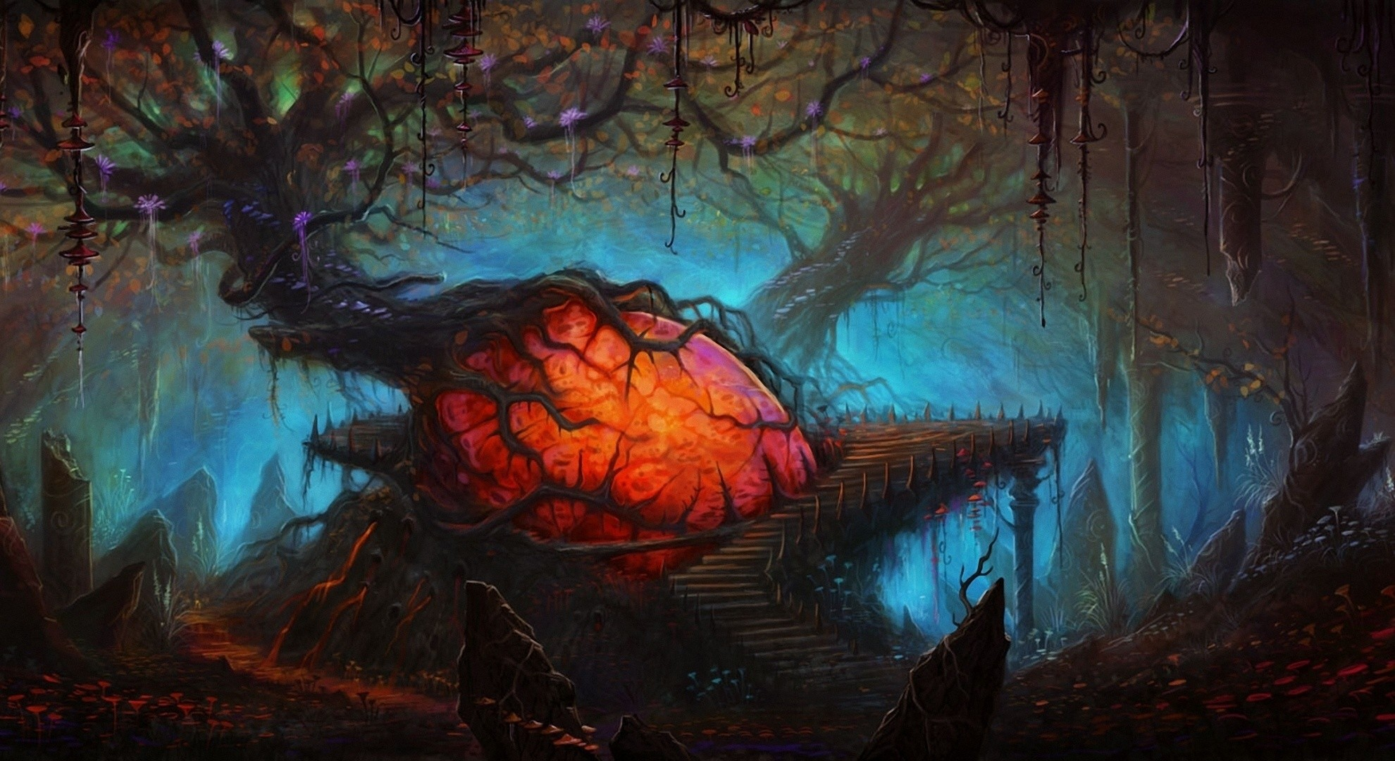 Fantasy Landscape Spooky Creepy Forest Dark Wallpaper