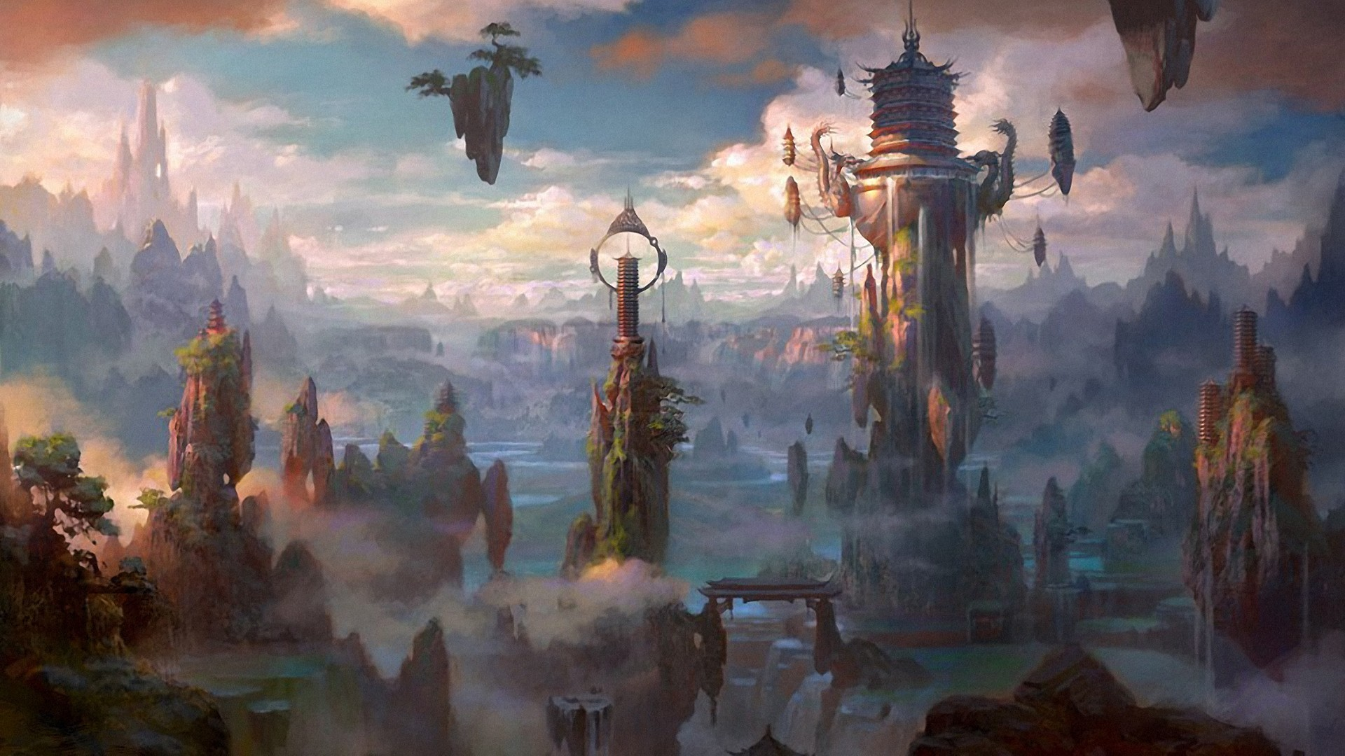 images of fantasy cities | Fantasy City Wallpaper/Background 1920 x 1080 –  Id:
