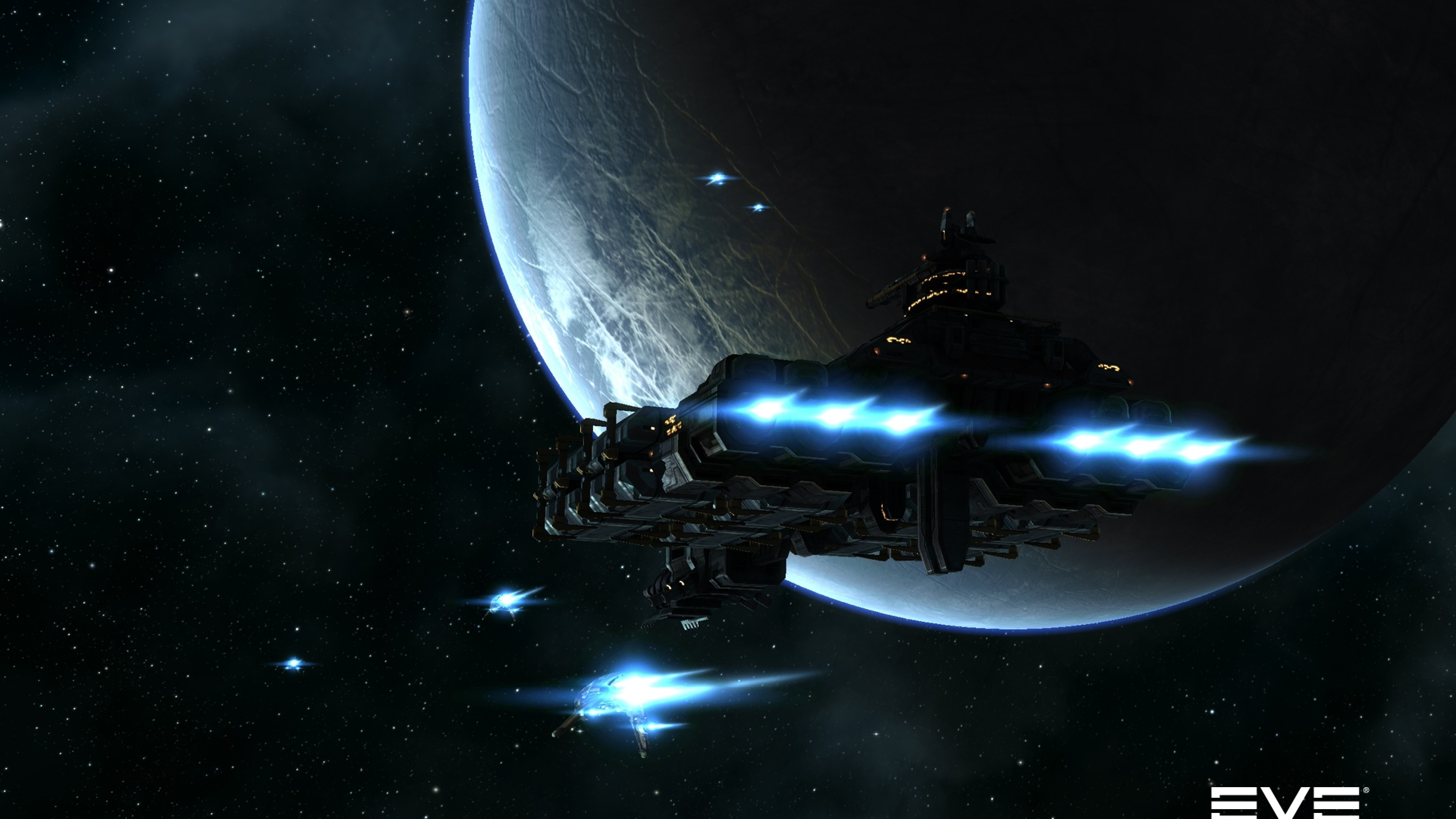 Preview wallpaper eve online, planet, space, spaceship 3840×2160