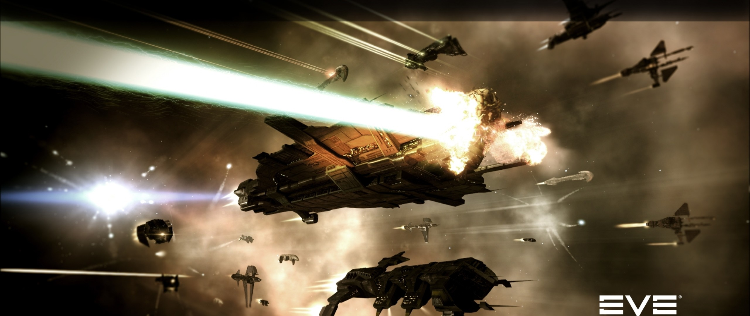 Preview wallpaper eve online, space, spaceships, light 2560×1080