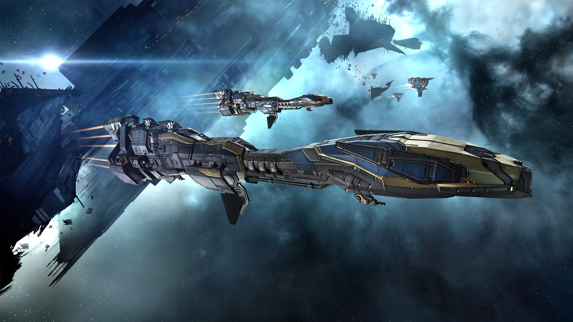 General EVE Online Minmatar video games spaceship concept art  science fiction space Stabber Cruiser