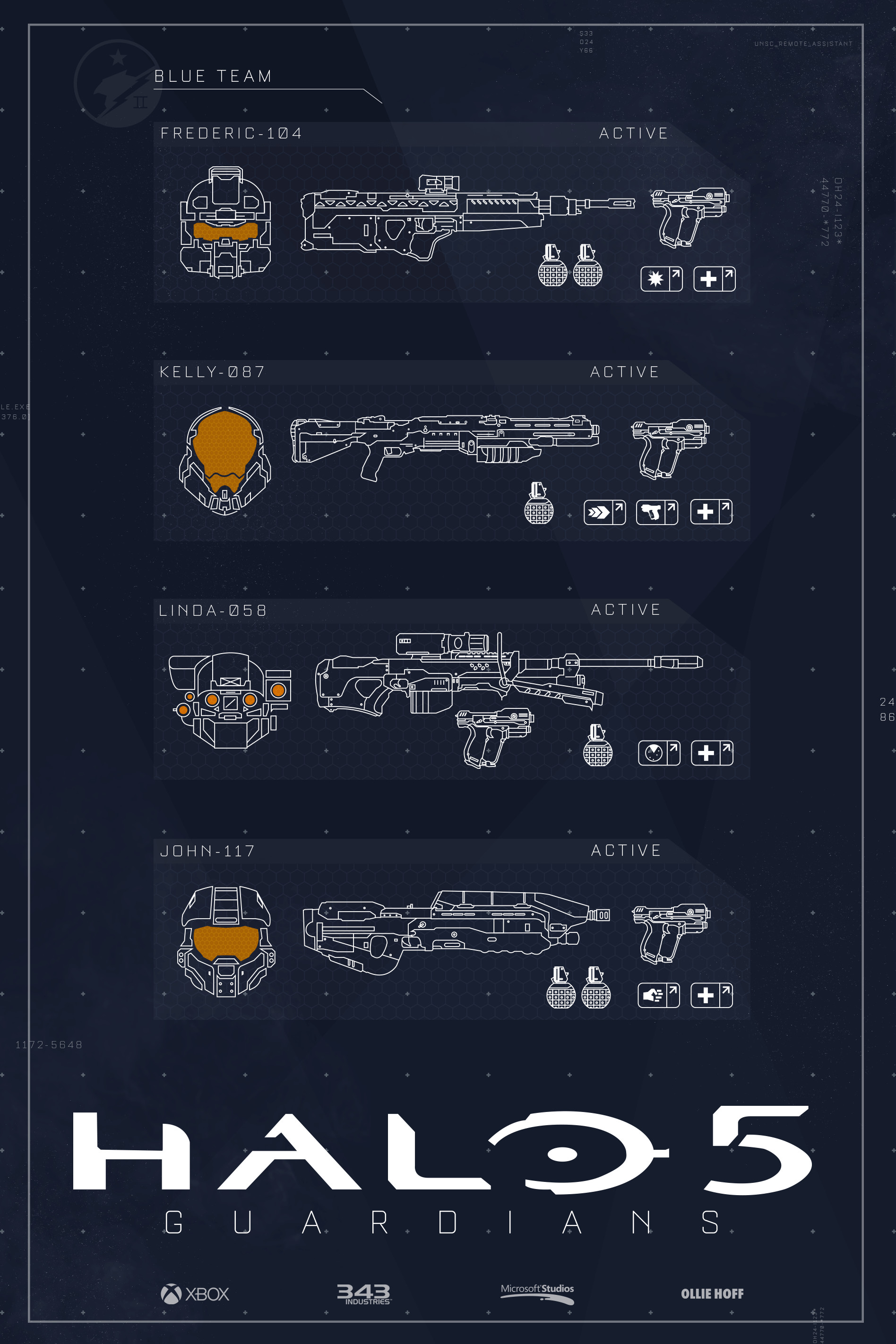 Self-initiated poster set for Halo 5 of both Blue Team and Fireteam Osiris.