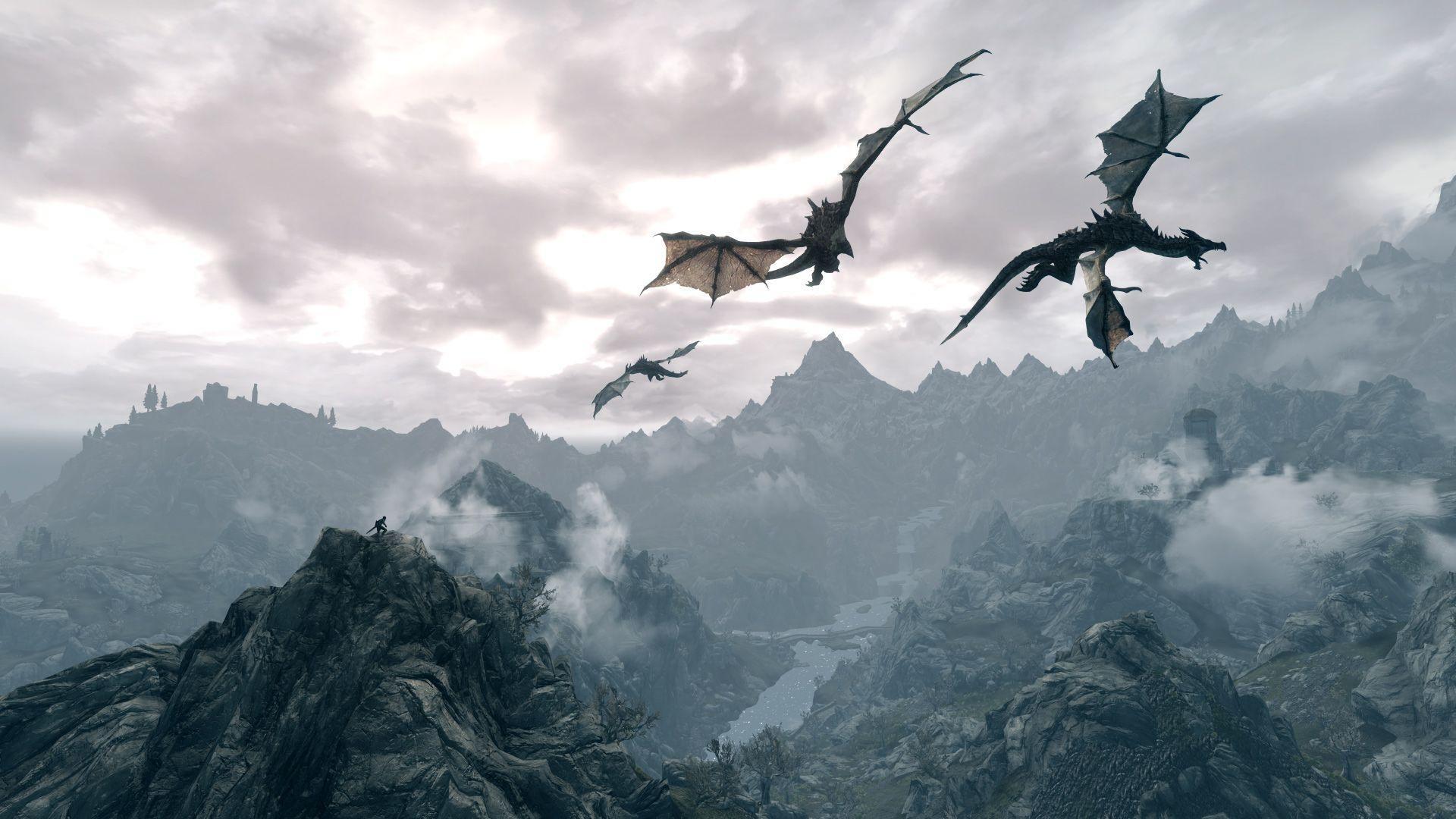 Wallpapers For > Skyrim Dragon Wallpaper Widescreen