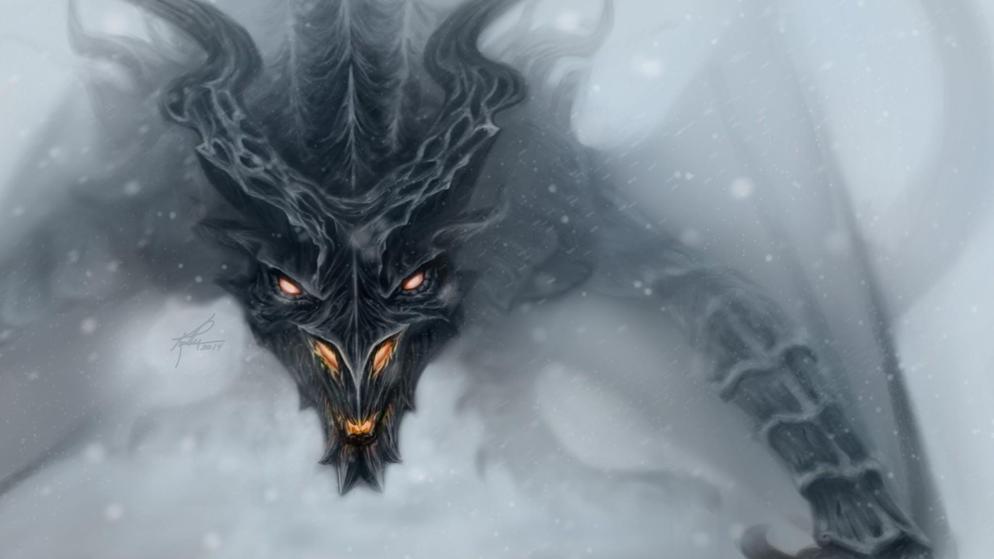Preview wallpaper dragon, alduin, skyrim, art 2048×1152