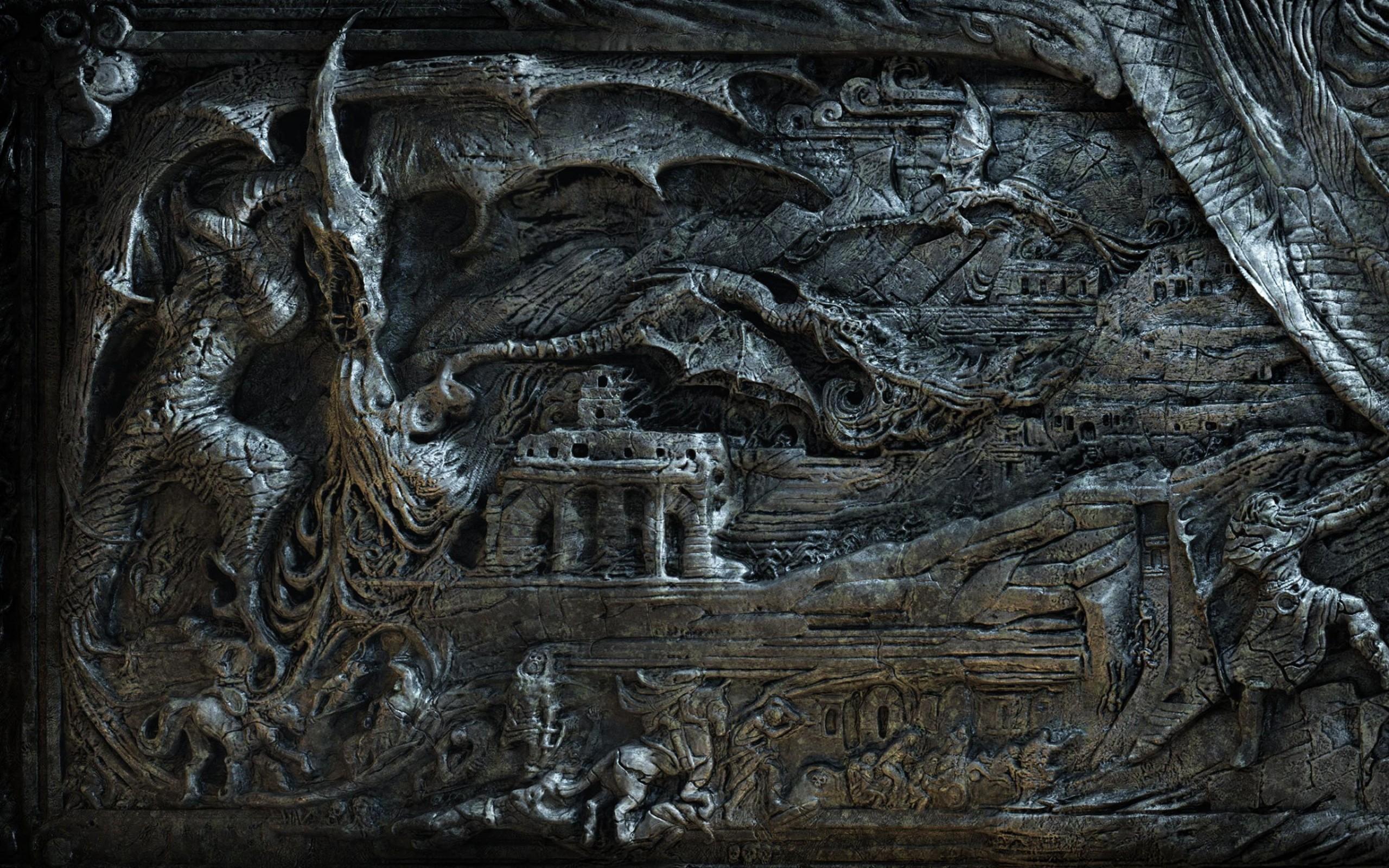 Preview wallpaper the elder scrolls, skyrim, bas, magician, dragon, fantasy  2560×1600