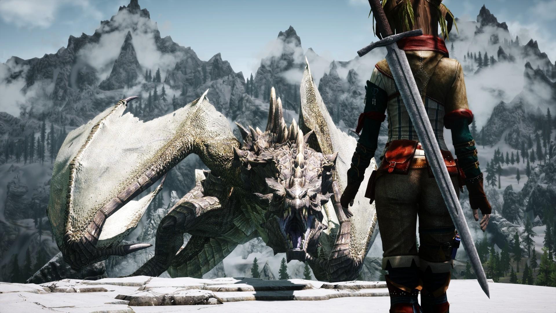 dragonborn, The Elder Scrolls, The Elder Scrolls V: Skyrim, Women, Dragon,  3D, Screenshots Wallpapers HD / Desktop and Mobile Backgrounds