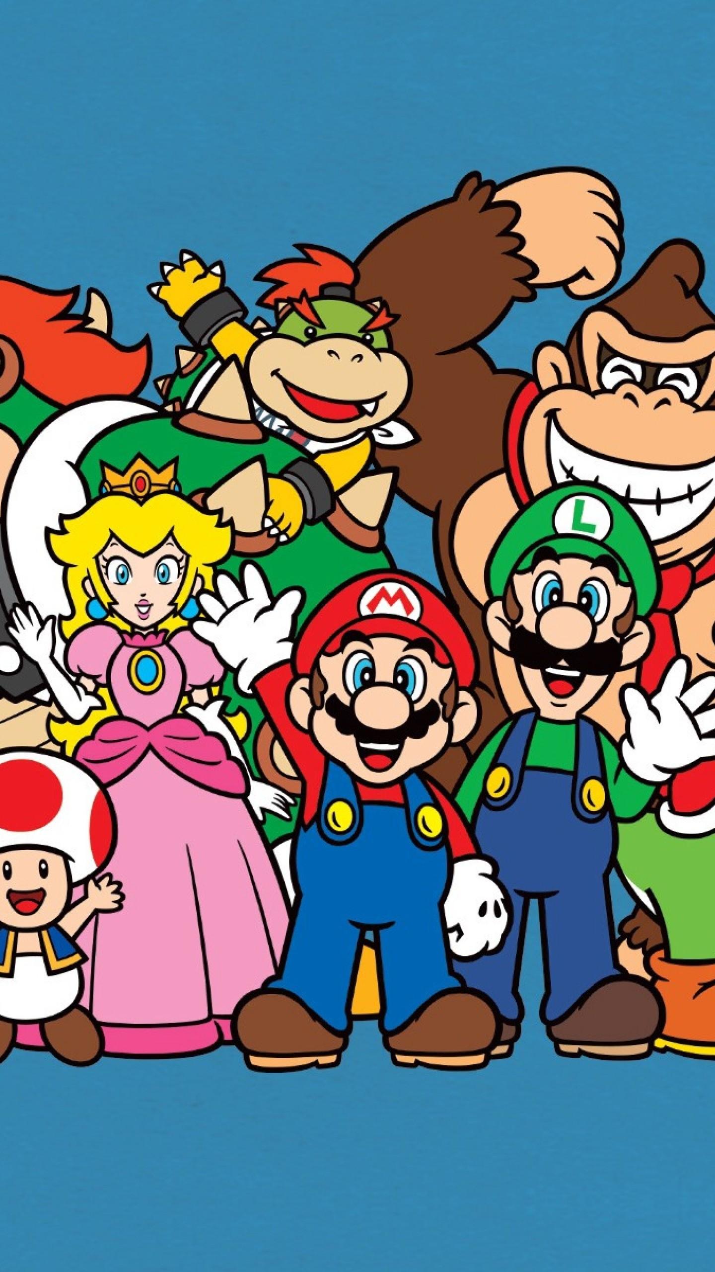 Preview wallpaper mario bros, luigi, yoshi, princess peach, donkey kong,  toad