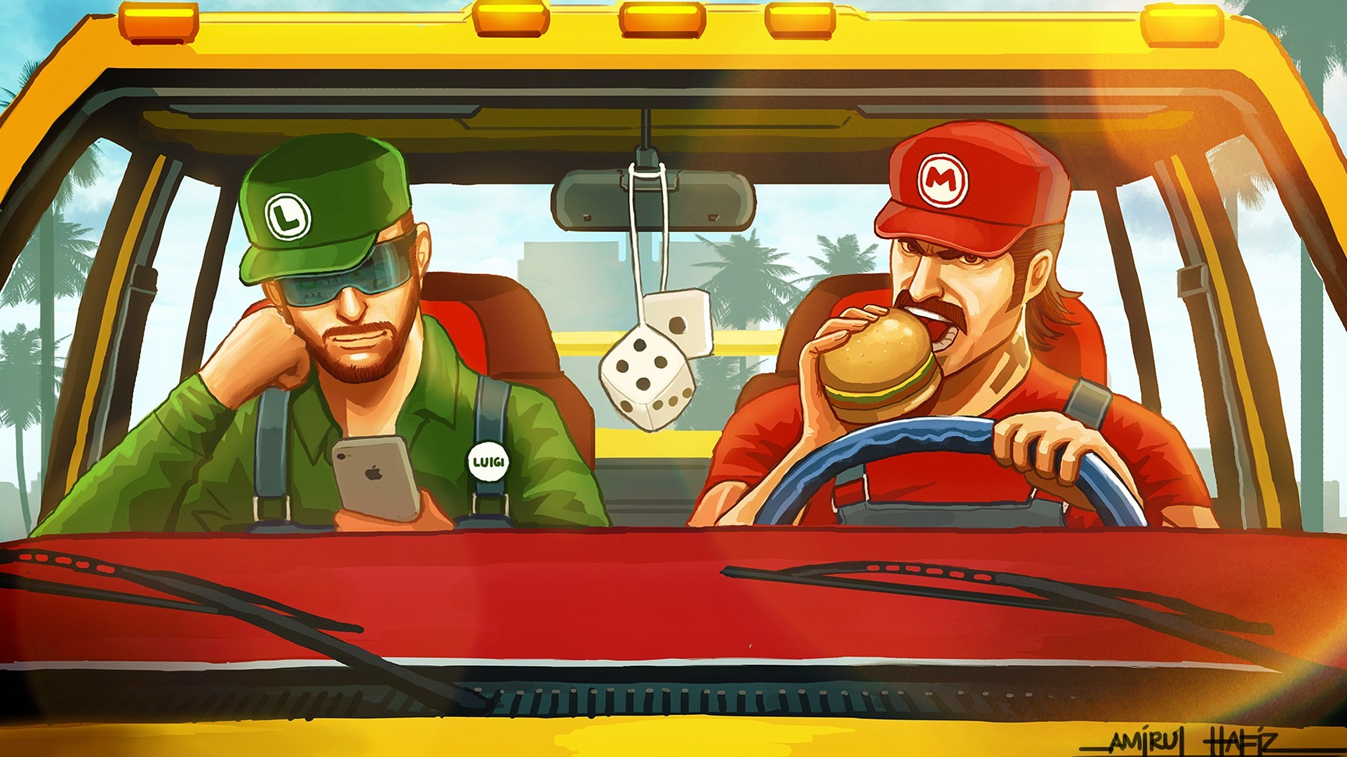 Mario Luigi Hamburger iPhone Dice game games humor funny wallpaper