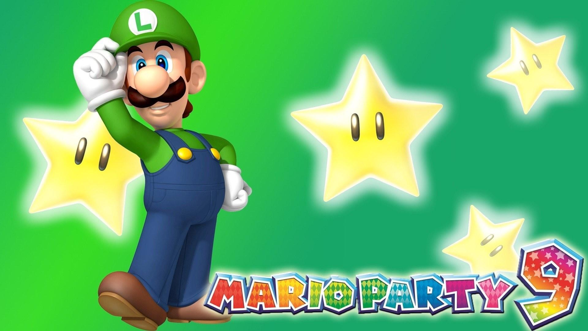 Mario Party Luigi Video Games Nintendo 9 Stars Green Background