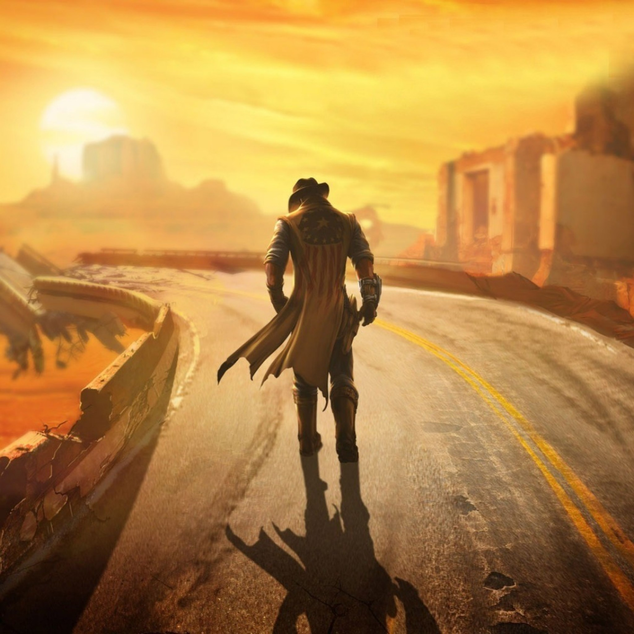 Preview wallpaper fallout, new vegas, wasteland, loner, road, hero 2048×2048