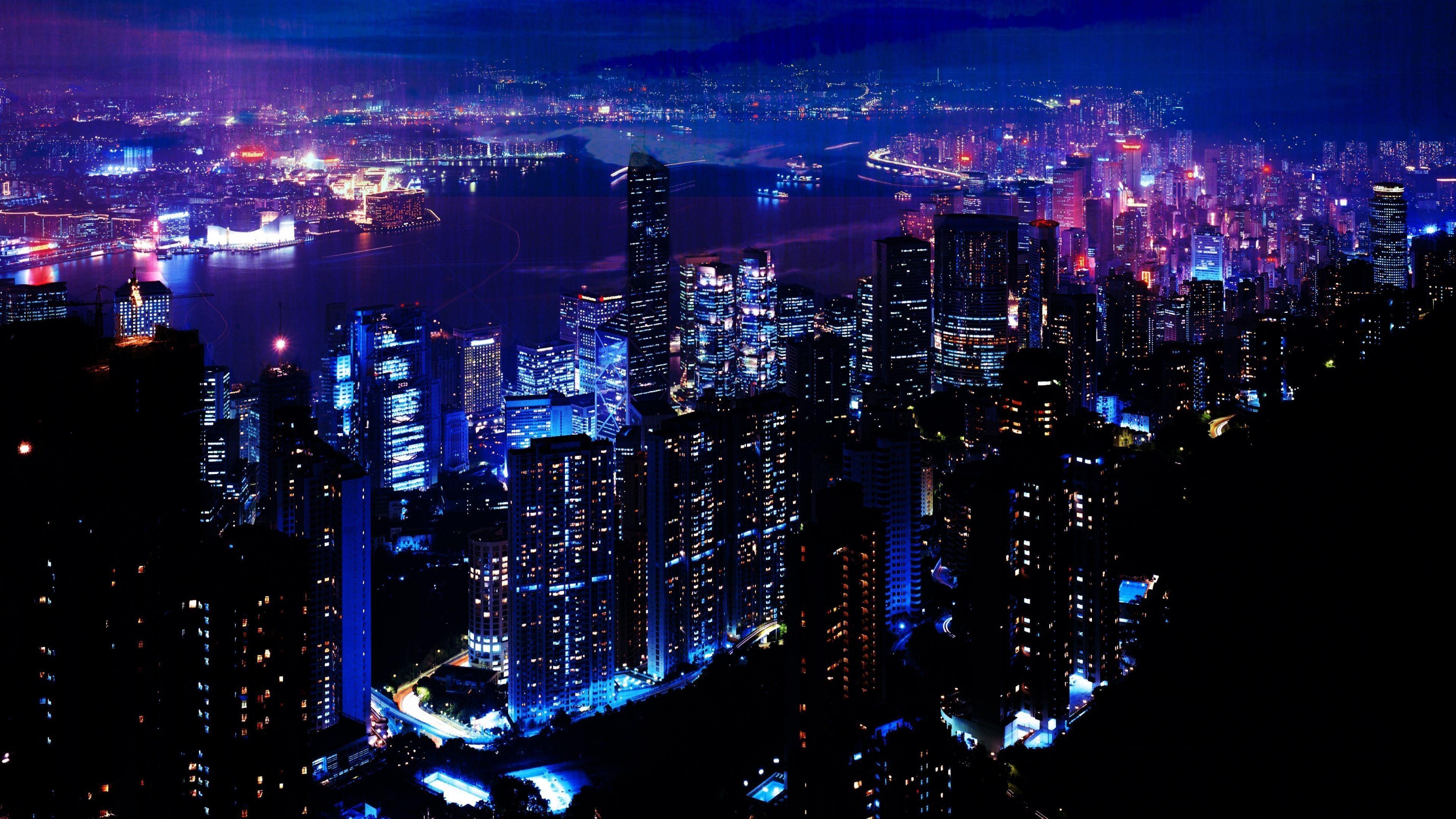 Download Wallpaper Night, City, Sky, Skyscrapers 4K .