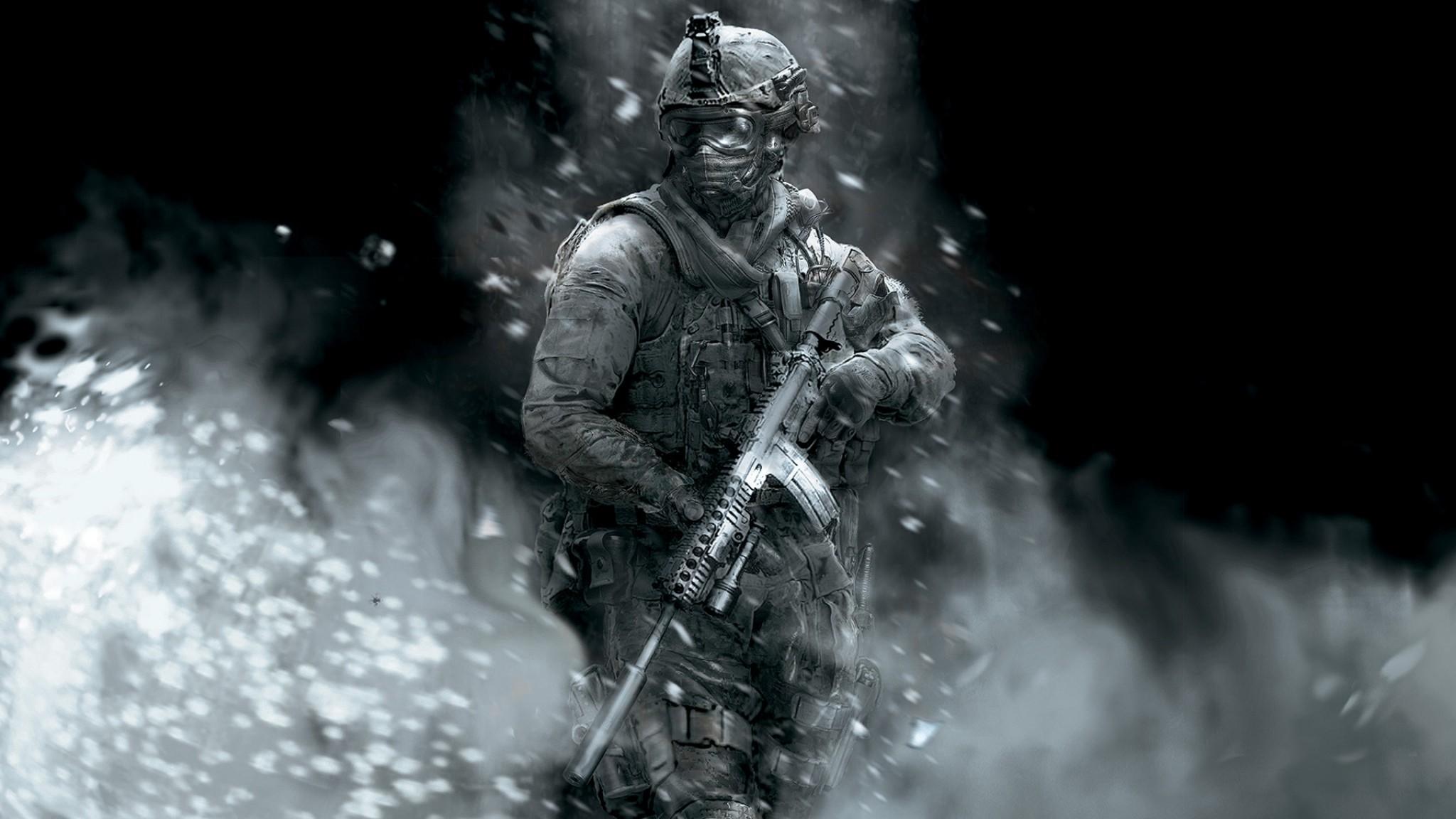 Preview wallpaper call of duty, soldier, gun, smoke, glasses 2048×1152