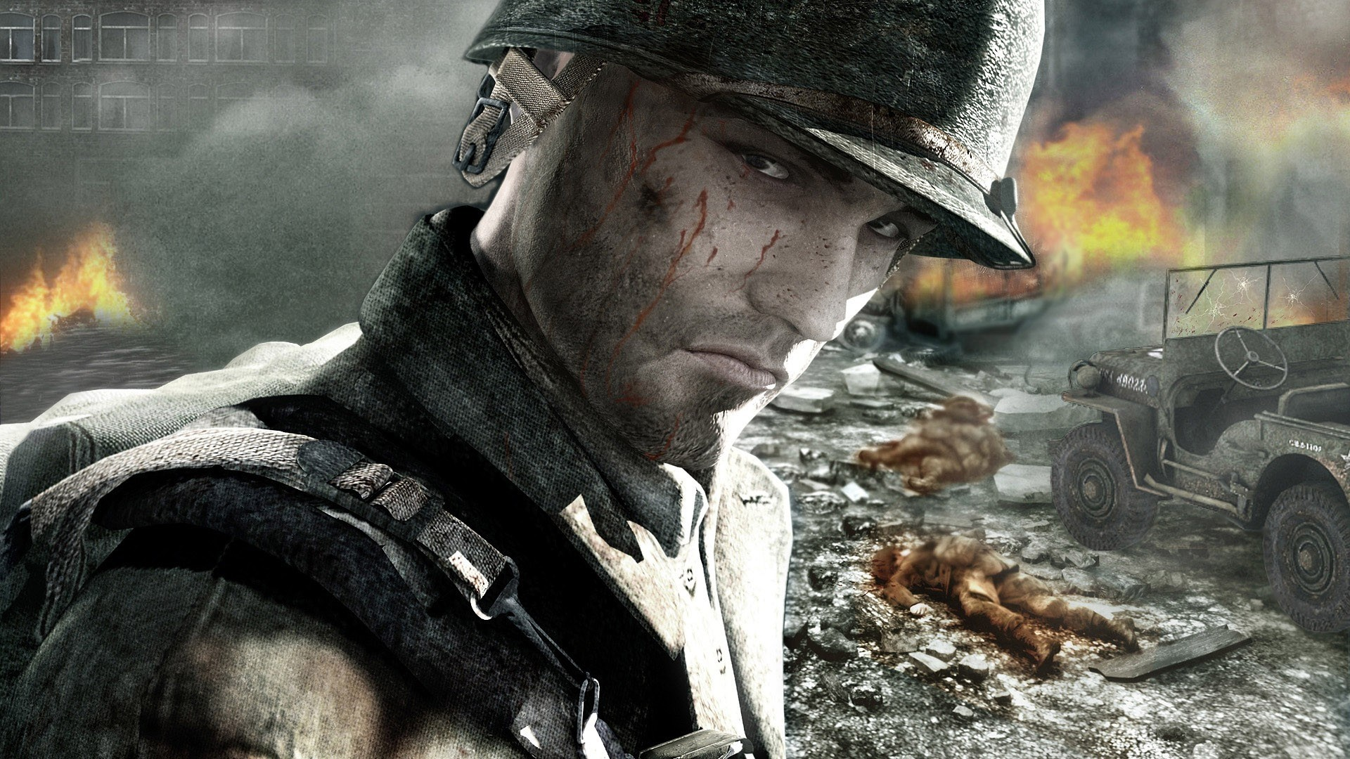 Preview wallpaper call of duty, soldier, face, look, blood 1920×1080