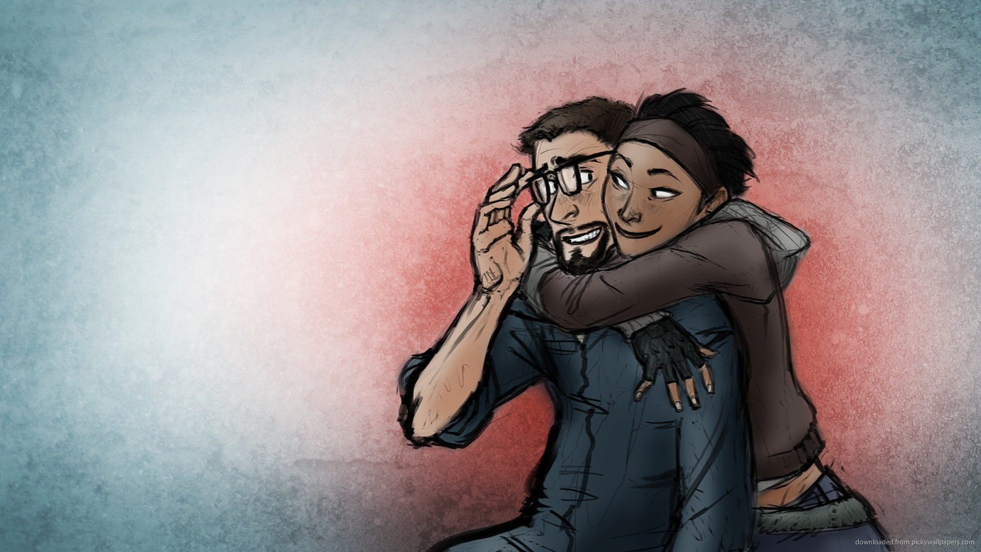 HD Half-Life 2 cute hug art wallpaper