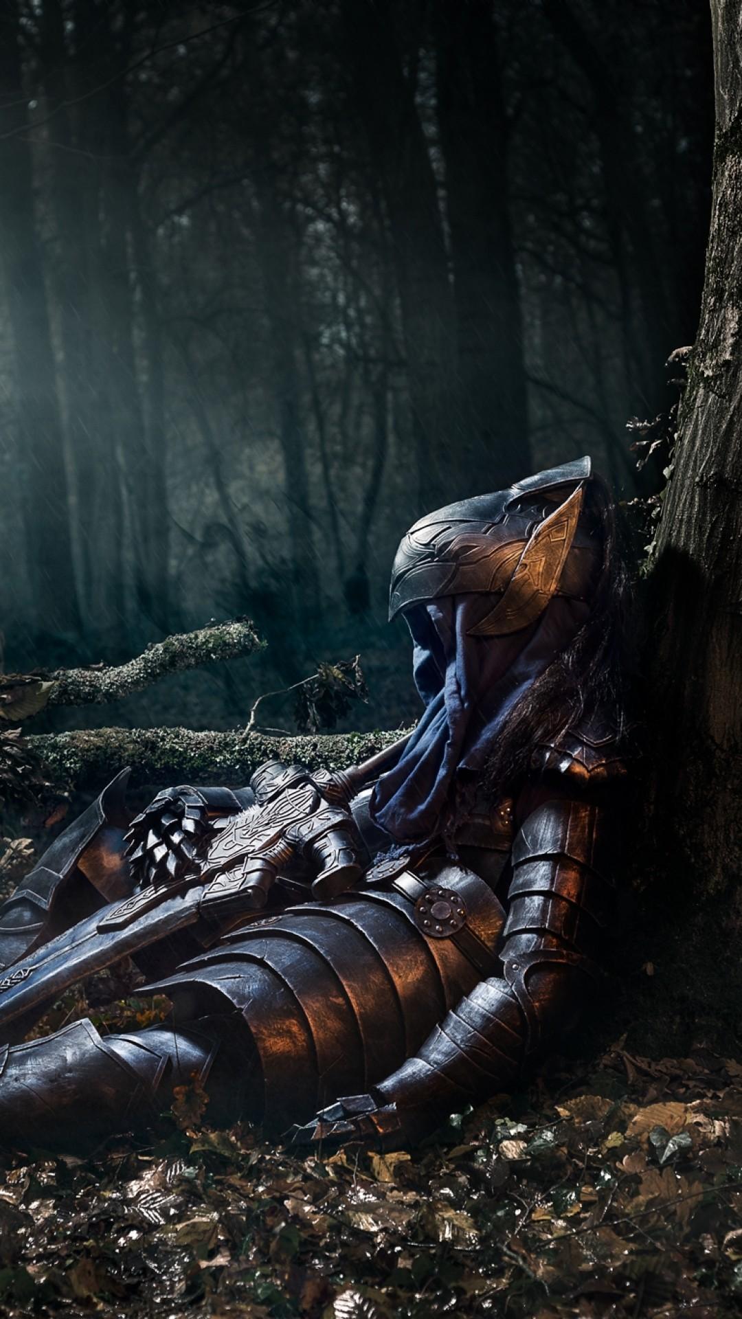 Dark Souls, Knight Artorias, Armor, Sword, Shield, Sitting, Dark Forest