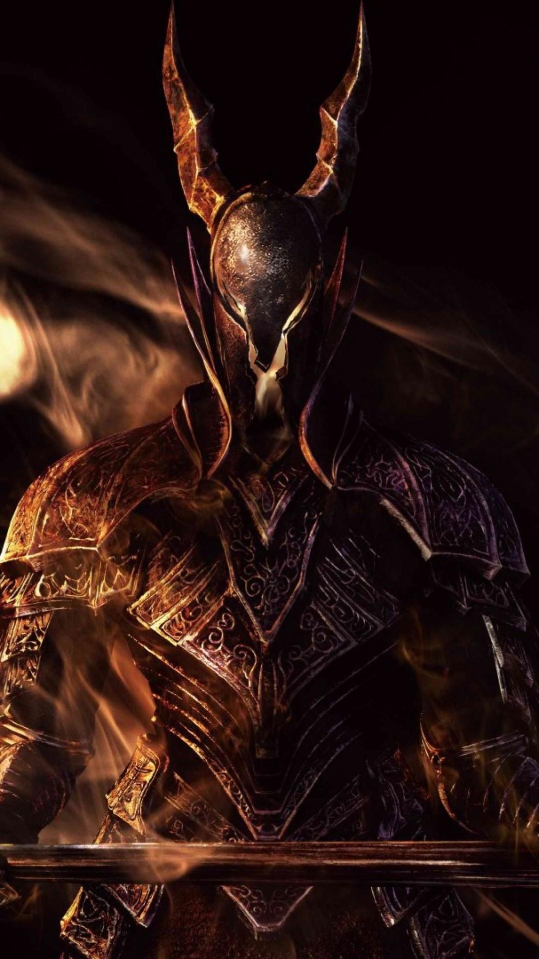 Preview wallpaper dark souls, sword, armor, look, smoke 1080×1920