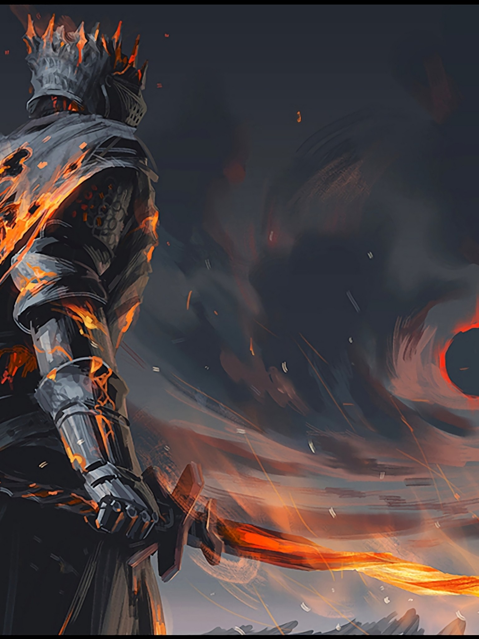 Dark Souls, Soul Of Cinder, Boss, Sword, Fire, Artwork