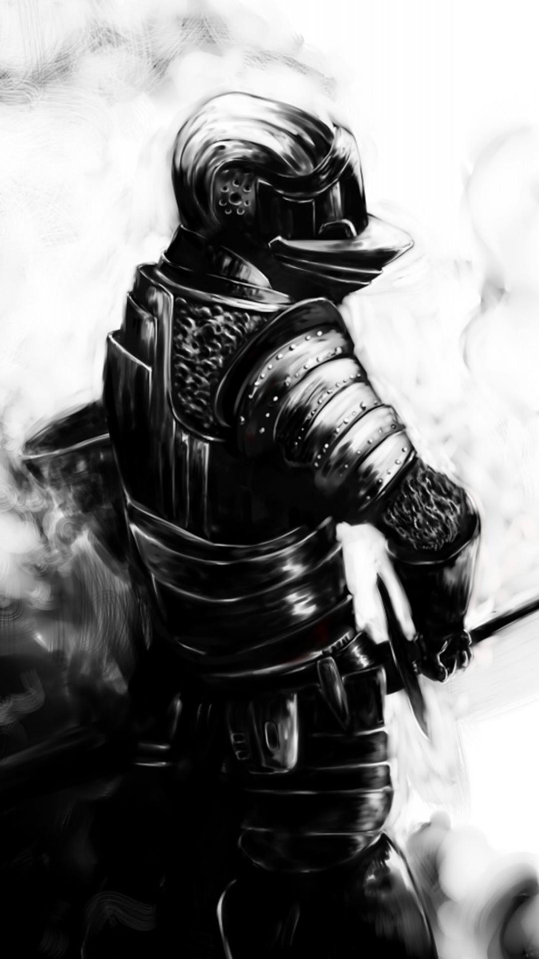 Preview wallpaper dark souls, knight, sword, armor, helmet 1080×1920